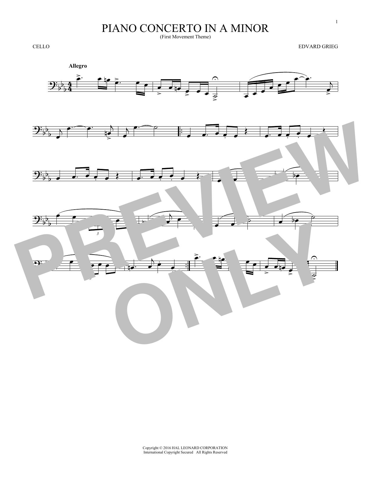 Piano Concerto In A Minor, Op. 16 (Cello Solo)