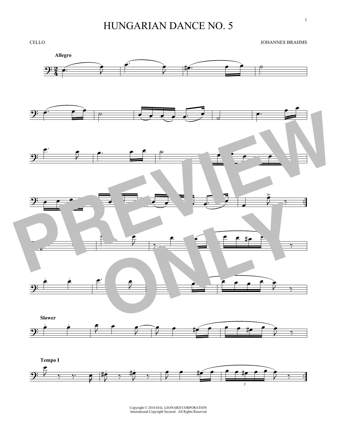 Hungarian Dance No. 5 (Cello Solo)