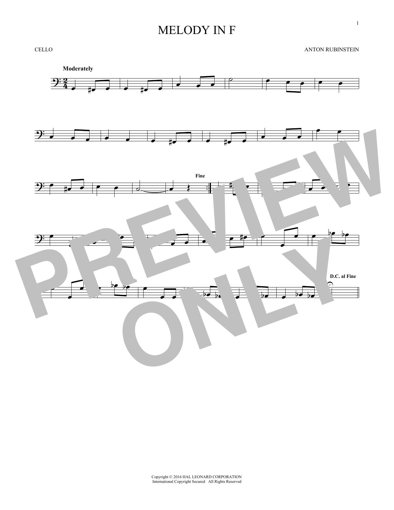 Melody In F (Cello Solo)
