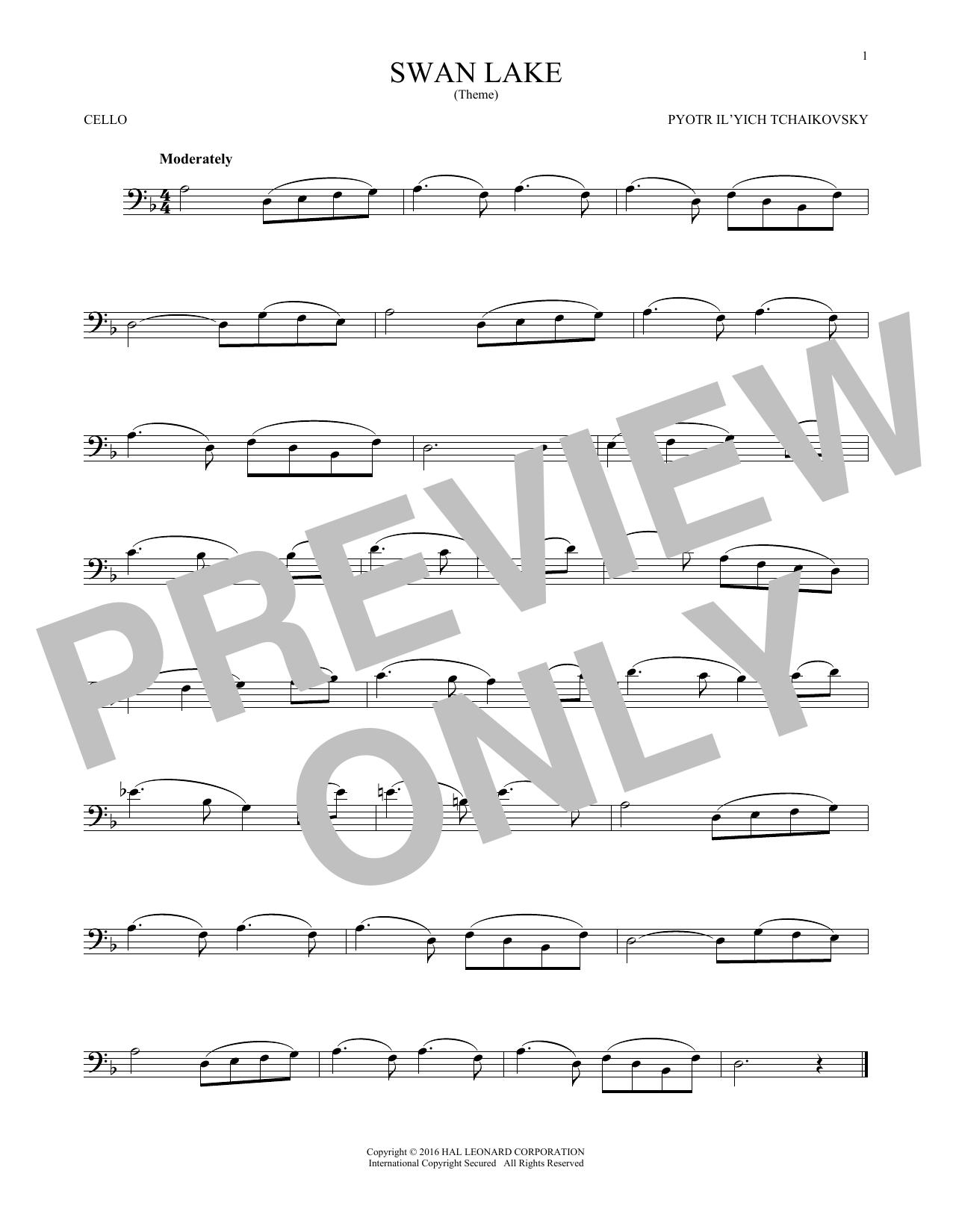Theme From Swan Lake (Cello Solo)