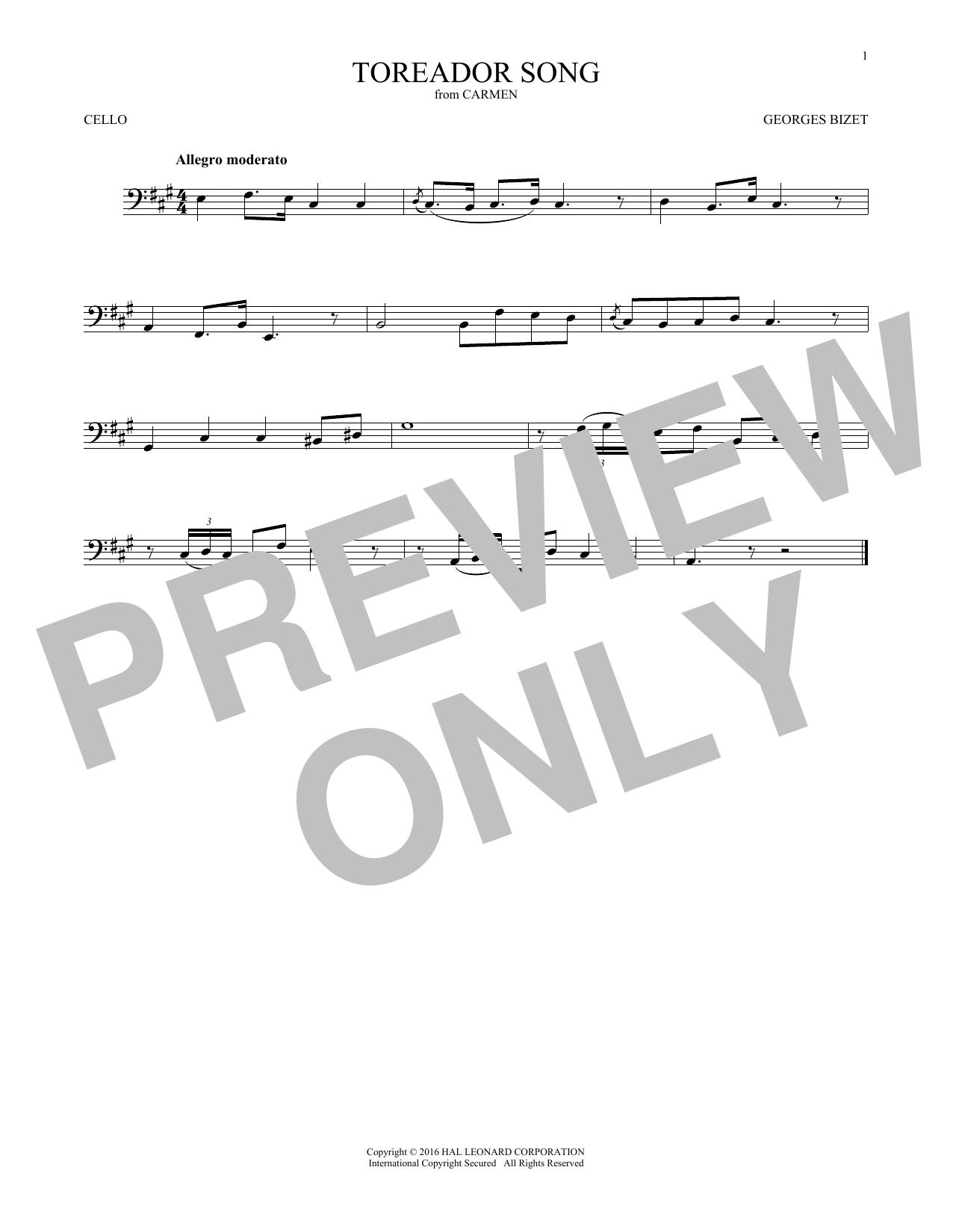 Toreador Song (Cello Solo)