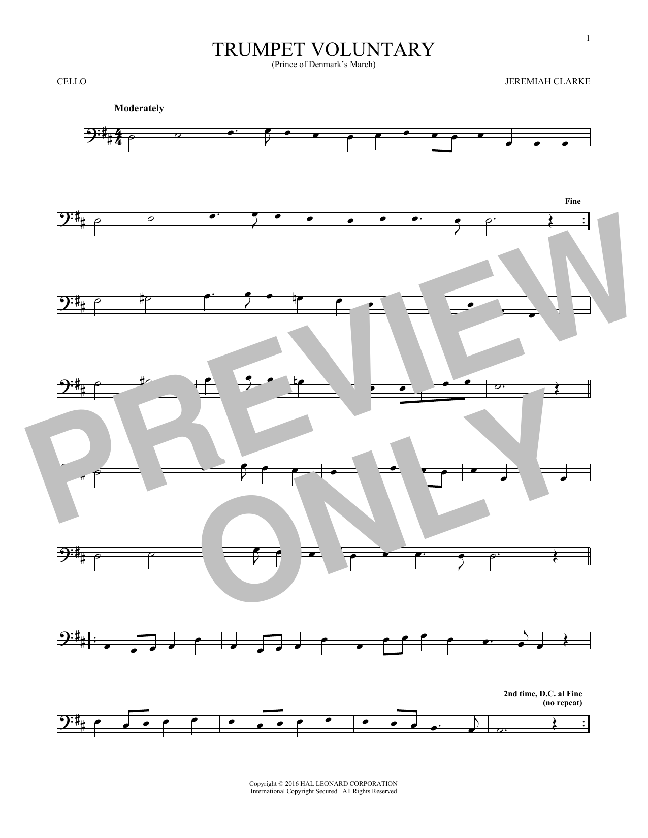 Trumpet Voluntary (Cello Solo)