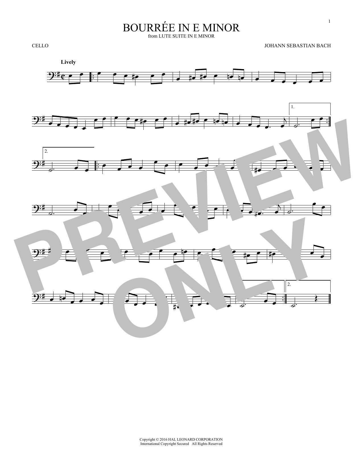 Bourree In E Minor (Cello Solo)