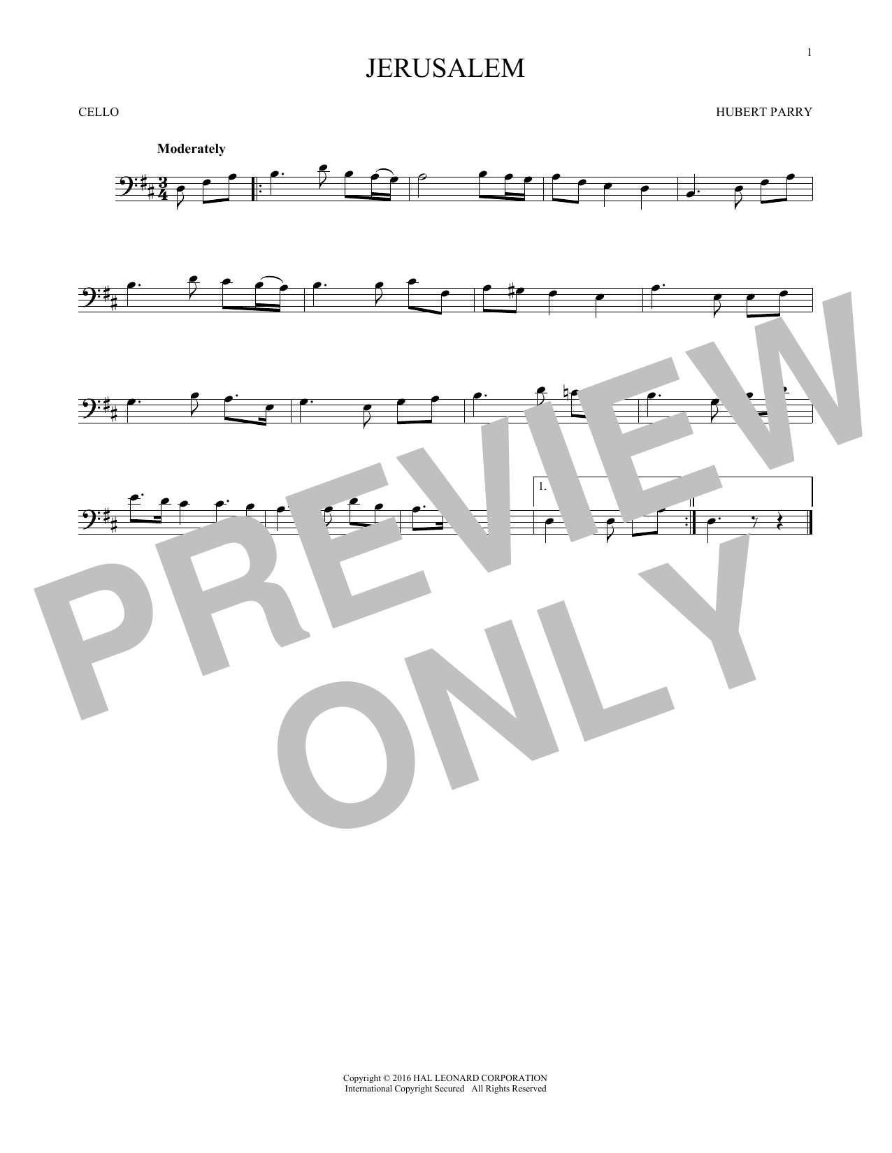 Jerusalem (Cello Solo)