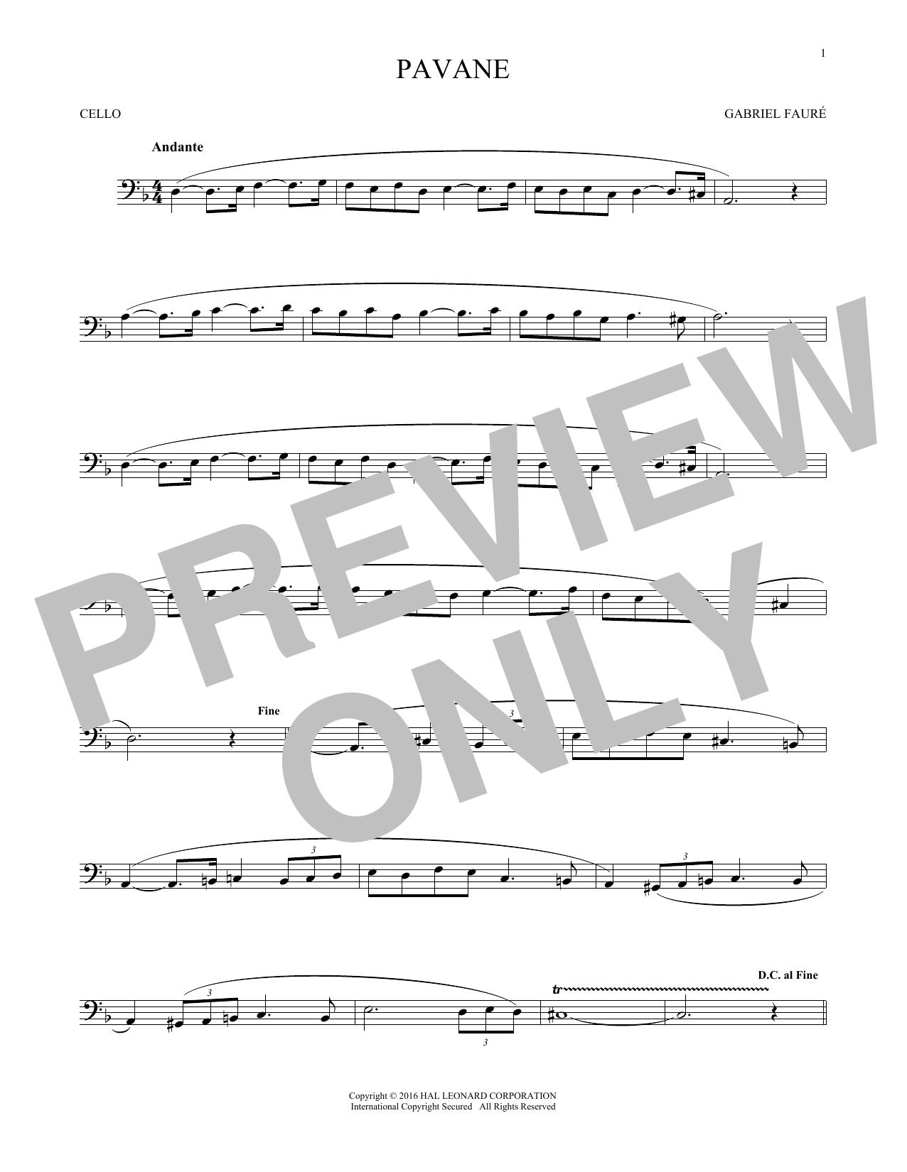 Pavane (Cello Solo)