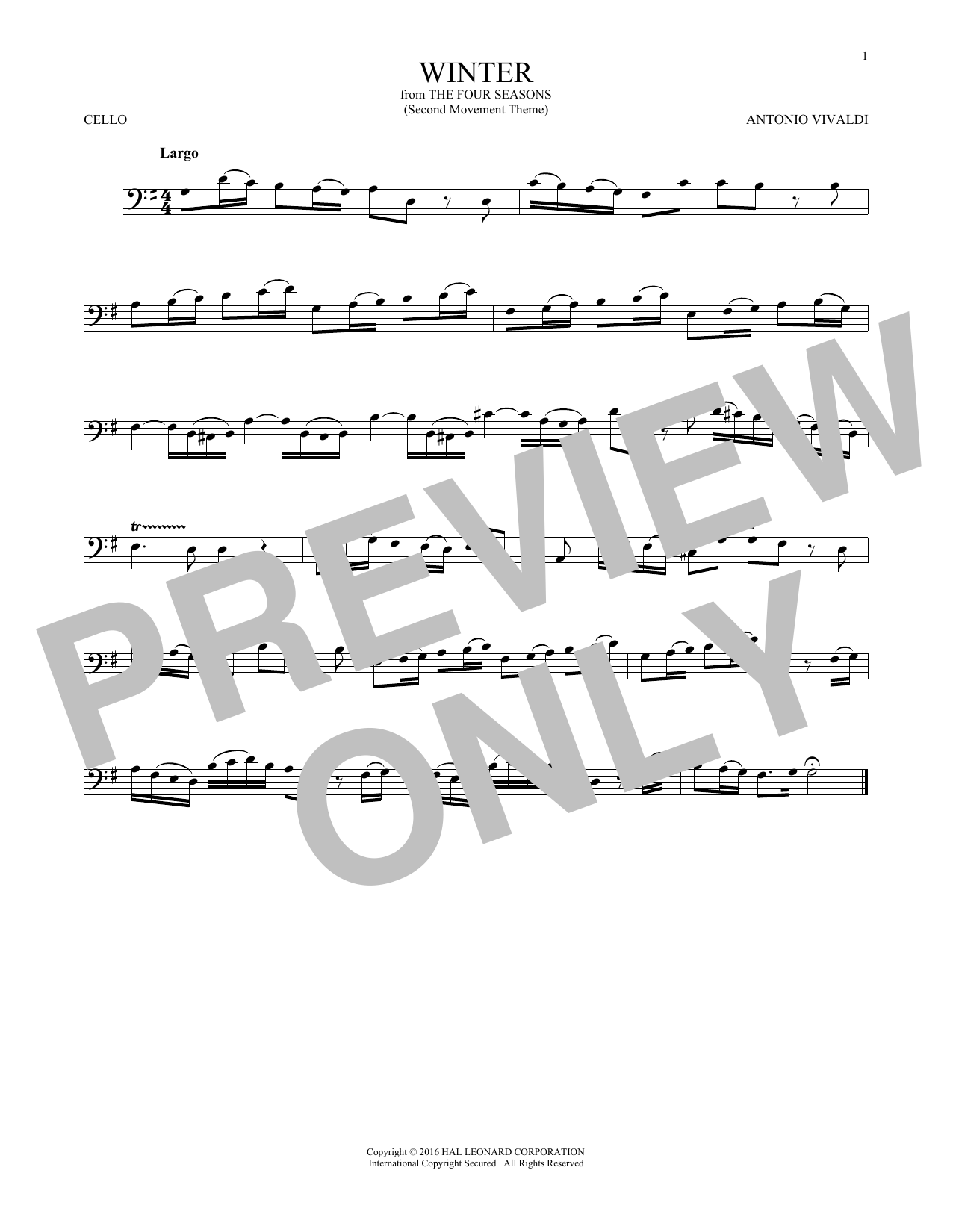 Winter (from The Four Seasons) (Cello Solo)