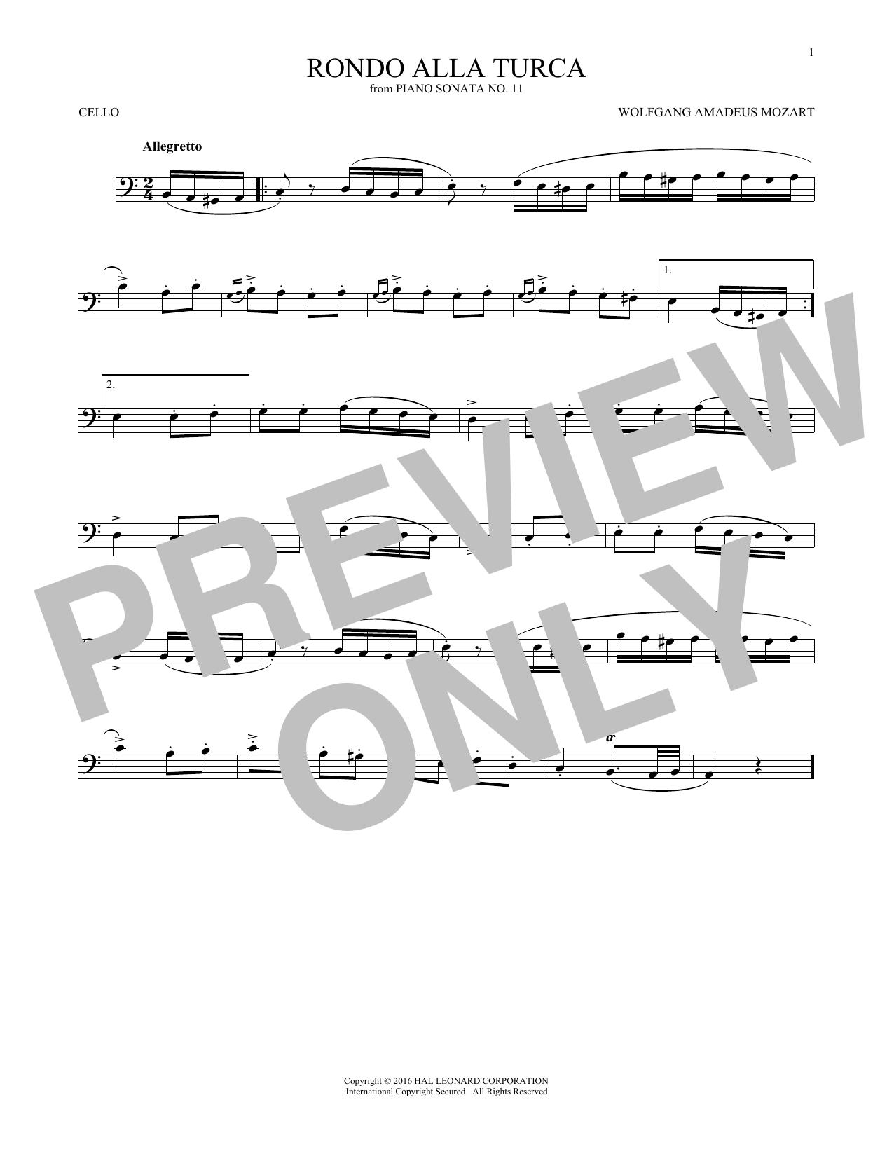 Rondo Alla Turca (Cello Solo)