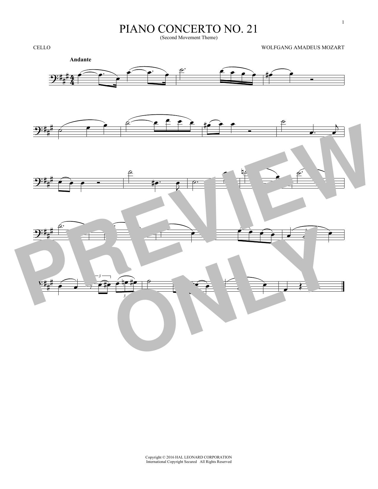"""Piano Concerto No. 21 In C Major (""""Elvira Madigan""""), Second Movement Excerpt (Cello Solo)"""