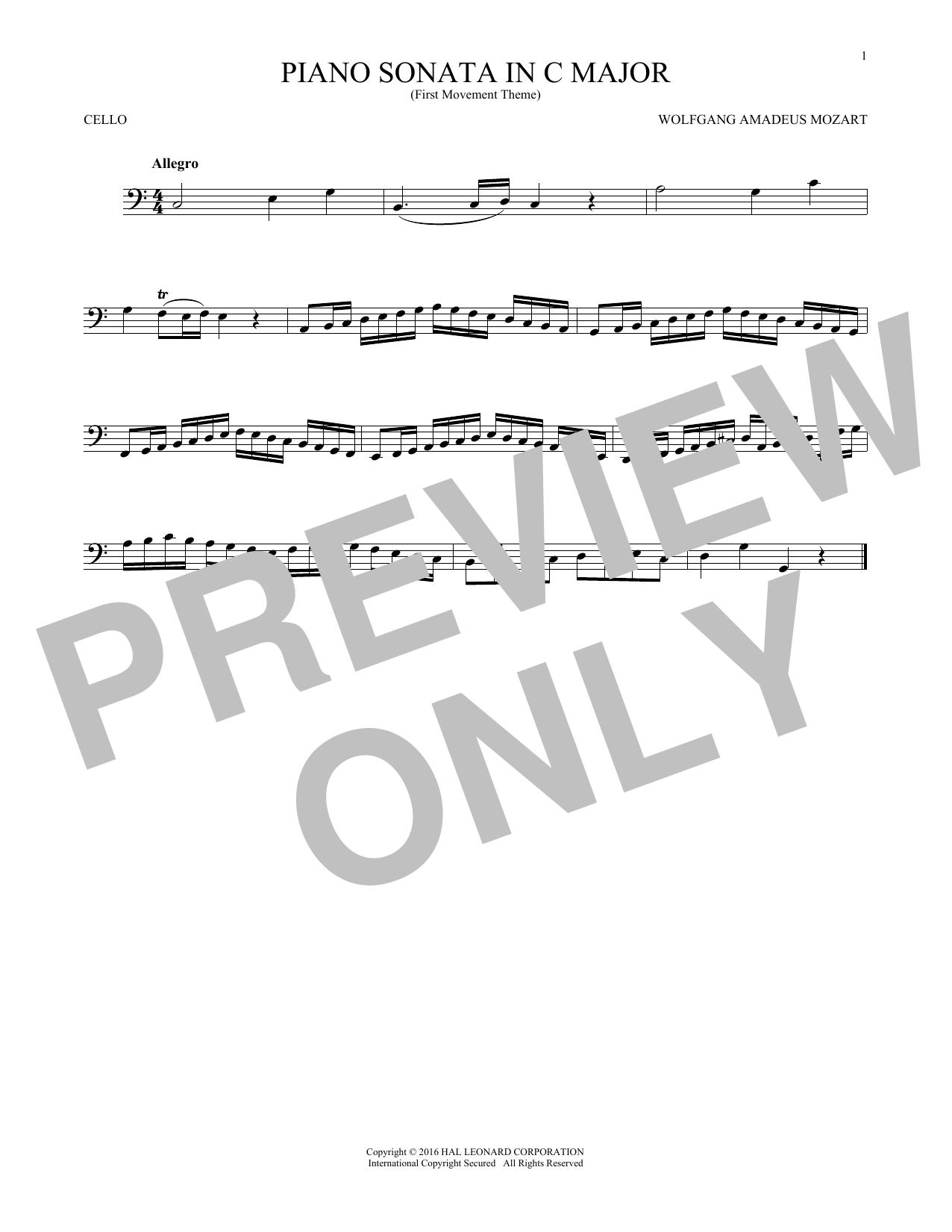 Piano Sonata In C Major (Cello Solo)