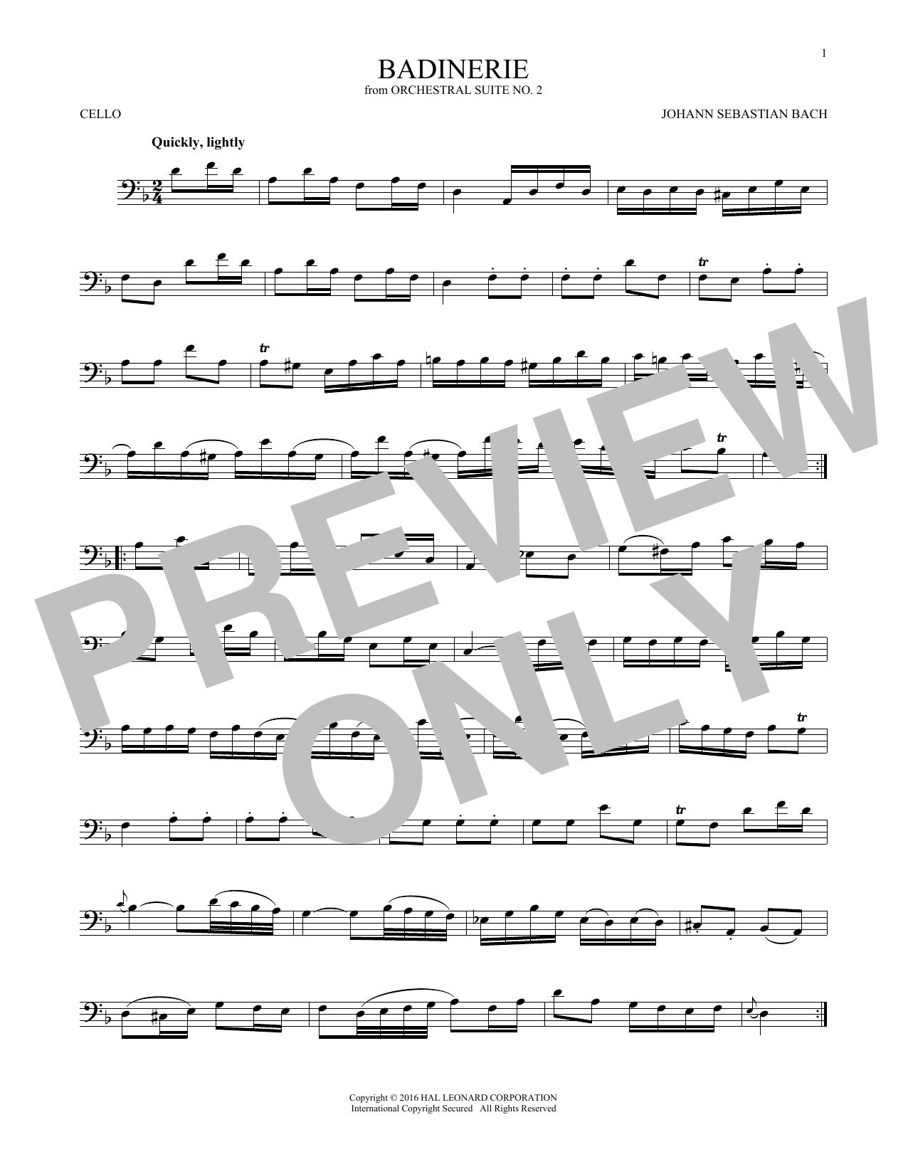 Badinerie (Suite No. 2) (Cello Solo)