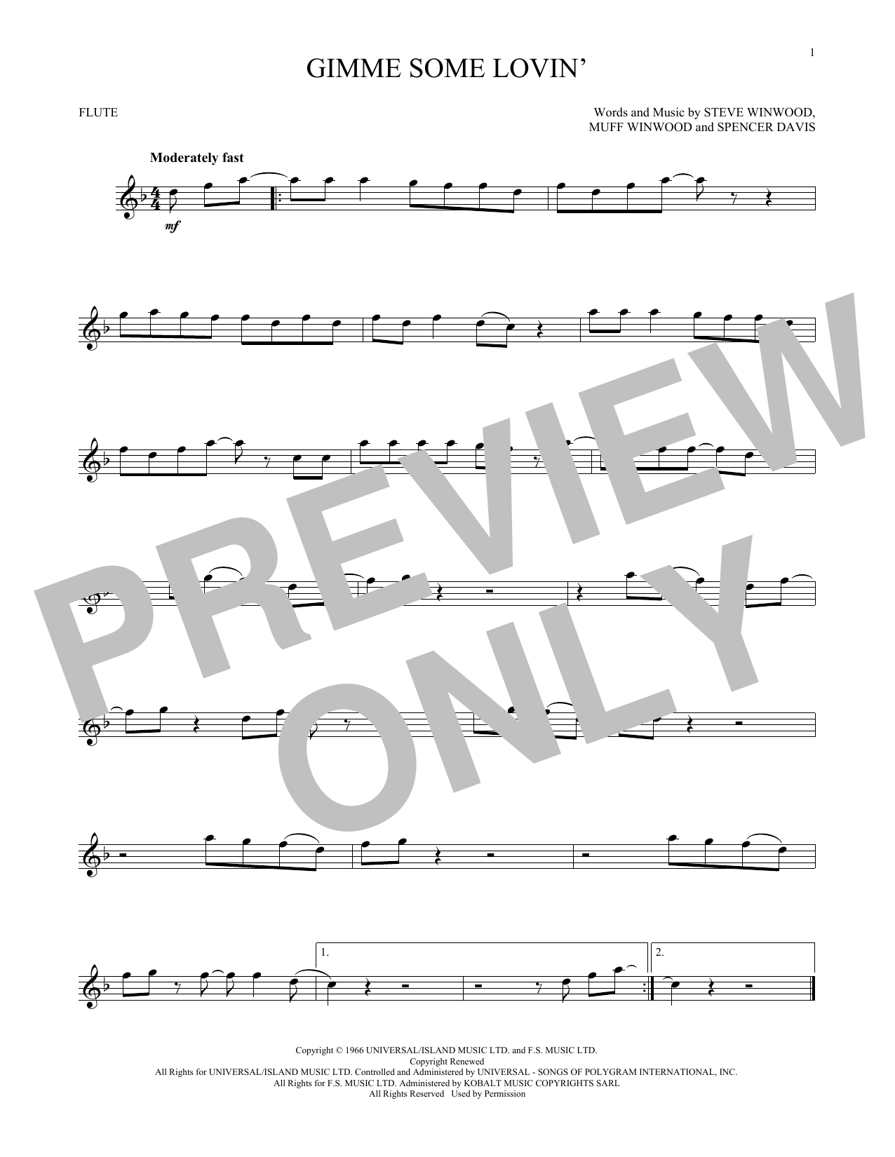 Gimme Some Lovin' (Flute Solo)