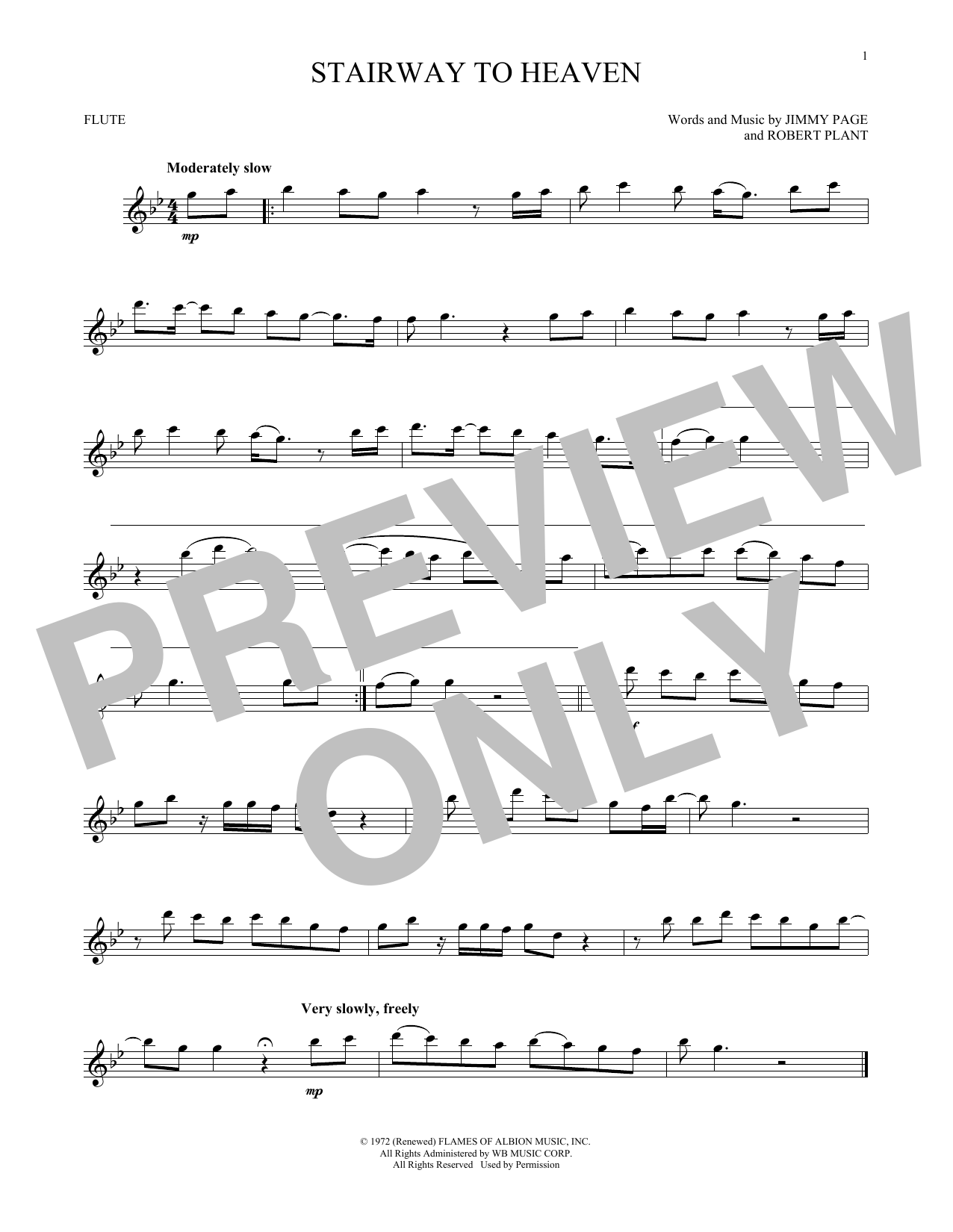 Stairway To Heaven Flute Solo Print Sheet Music Now