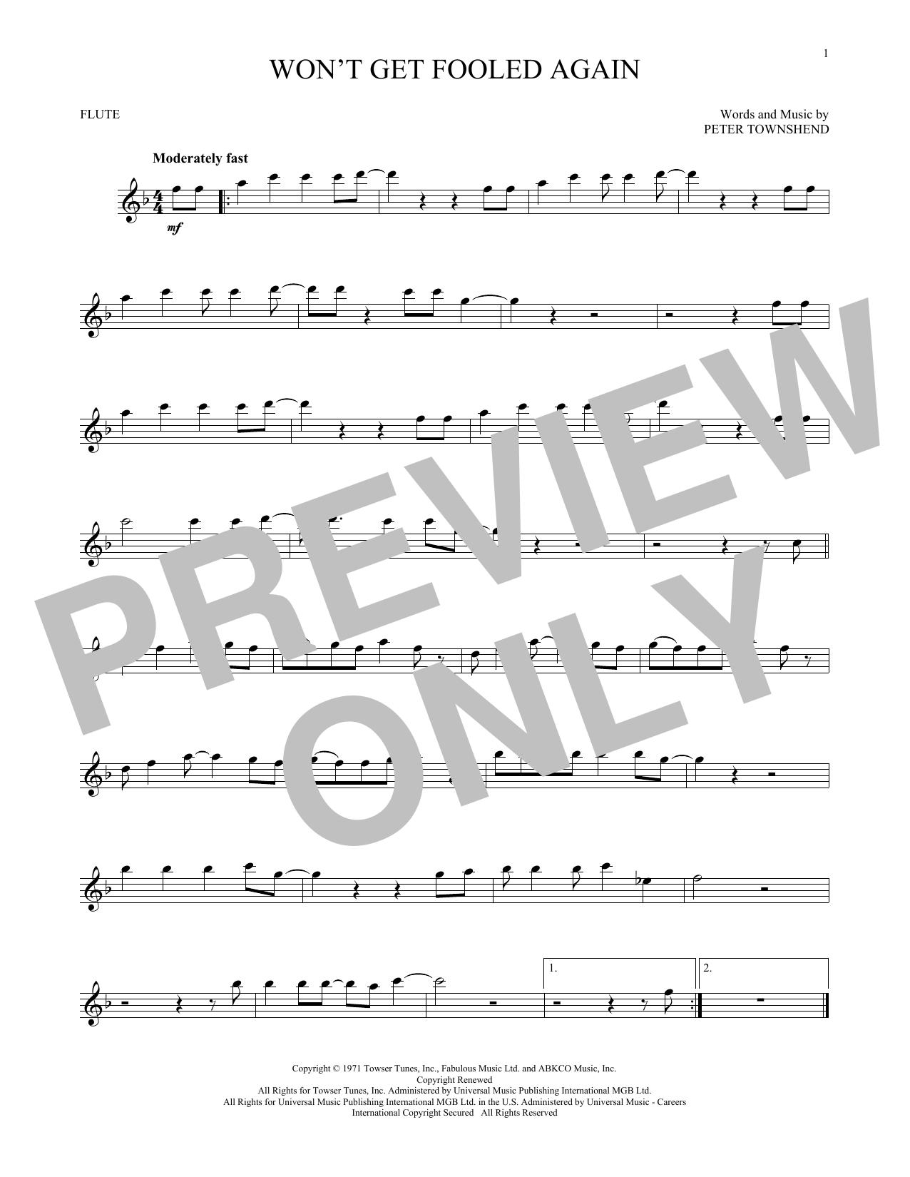 Won't Get Fooled Again (Flute Solo)
