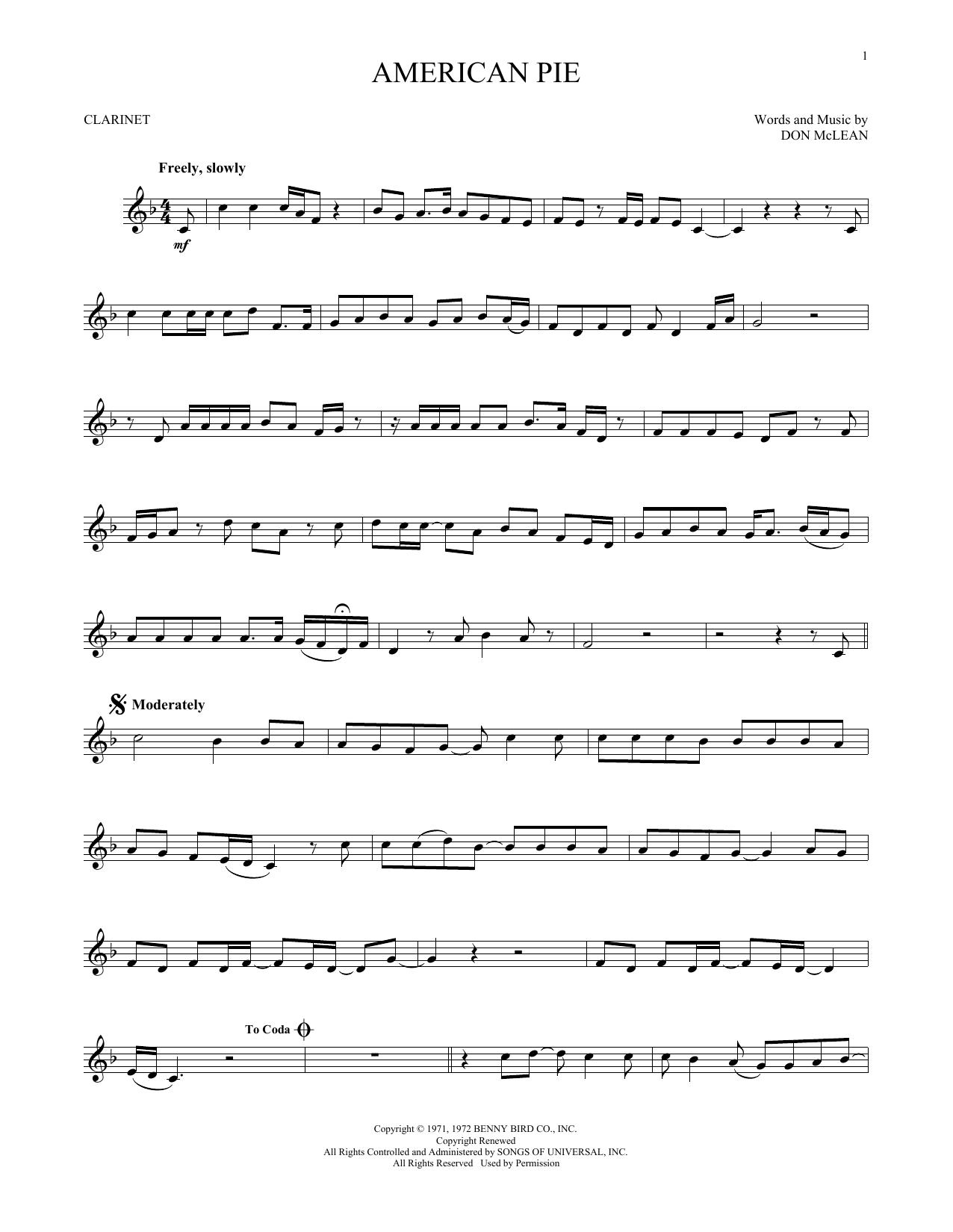 American Pie (Clarinet Solo)