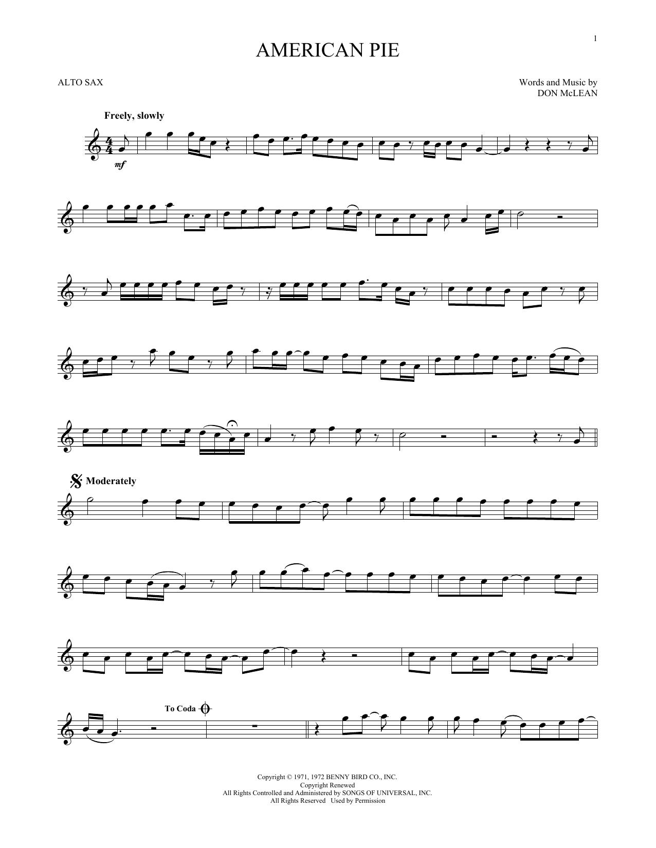 American Pie (Alto Sax Solo)