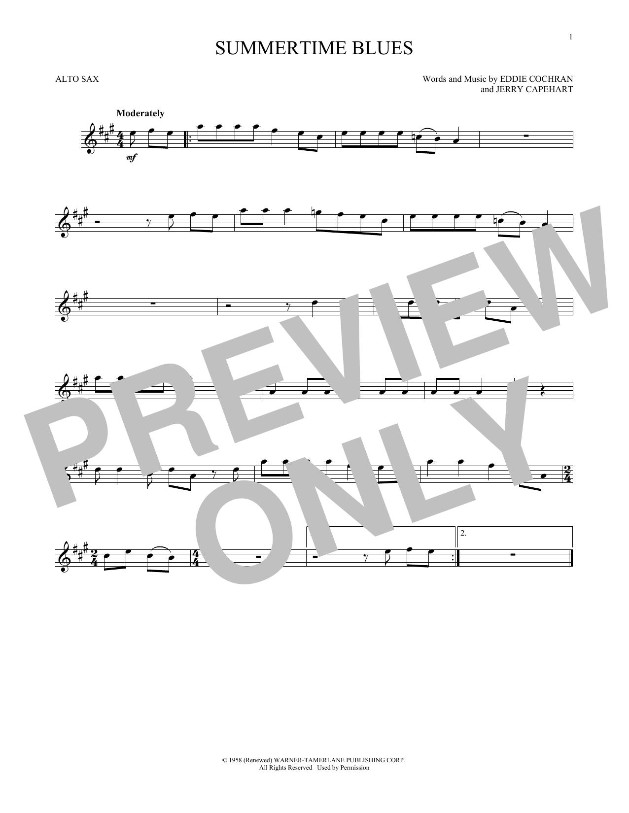 Summertime Blues saxophone sheet music by Eddie Cochran - Alto Sax