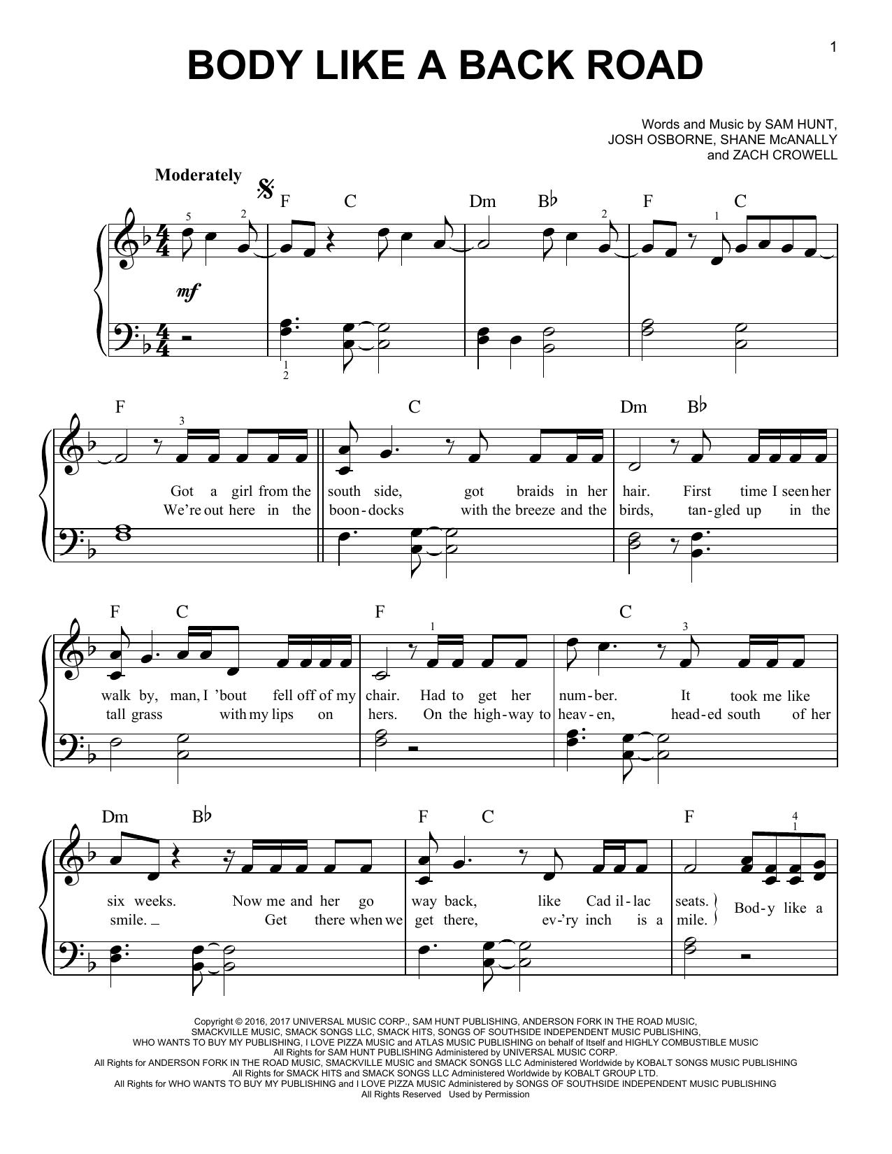 Body Like A Back Road (Easy Piano)