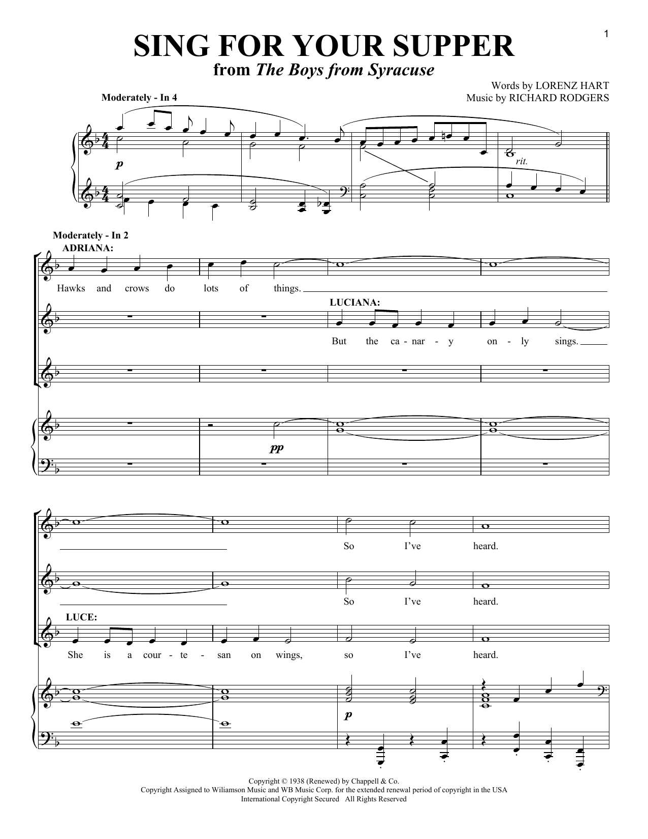Sing For Your Supper Sheet Music