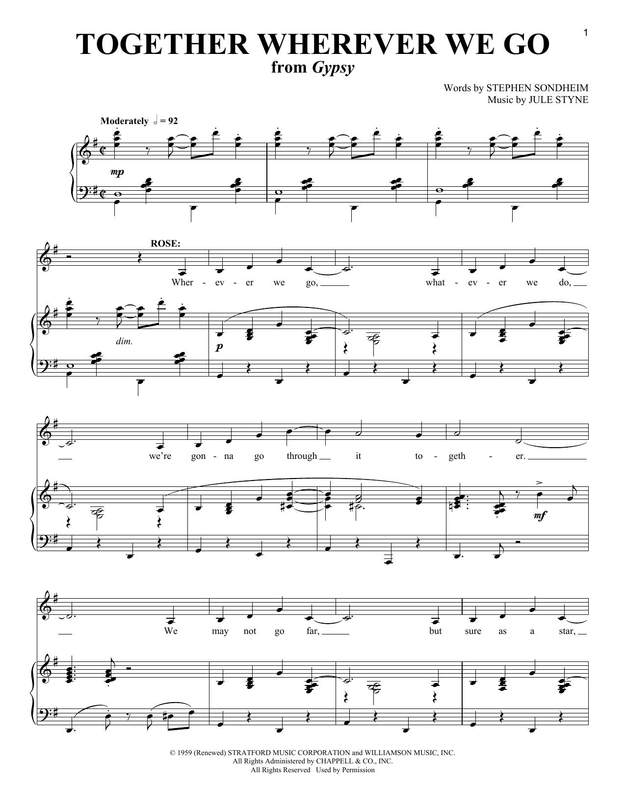Together Wherever We Go (Piano & Vocal)