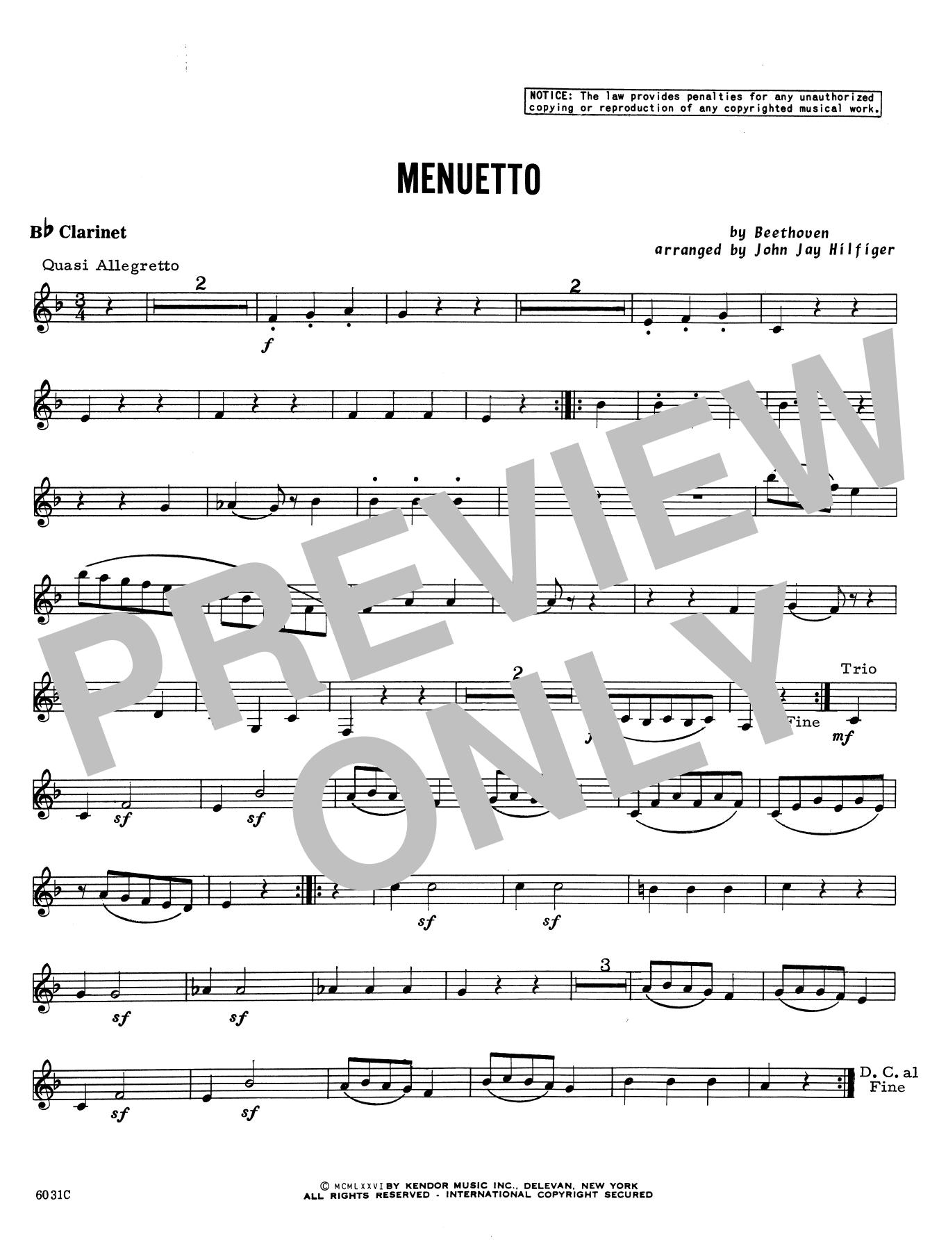 Menuetto - Bb Clarinet Sheet Music