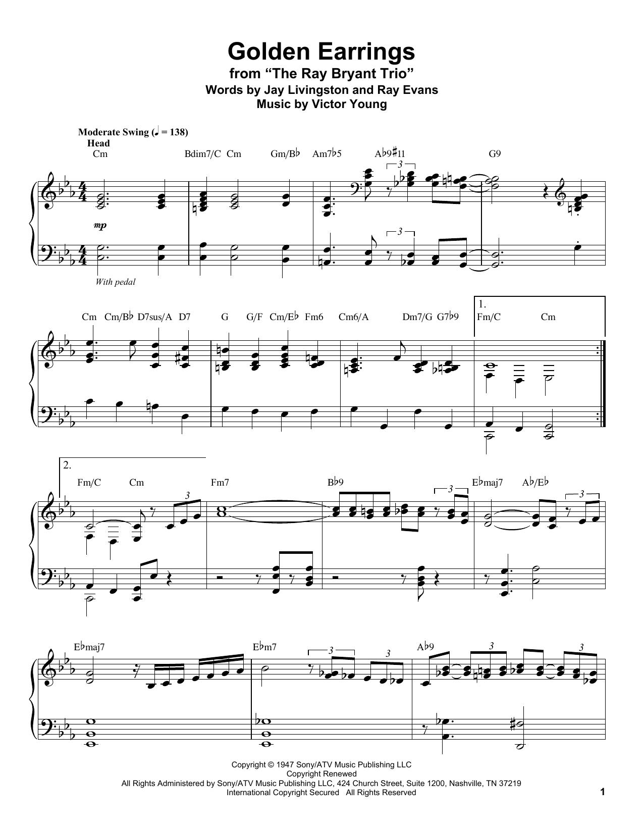 Golden Earrings (Piano Transcription)