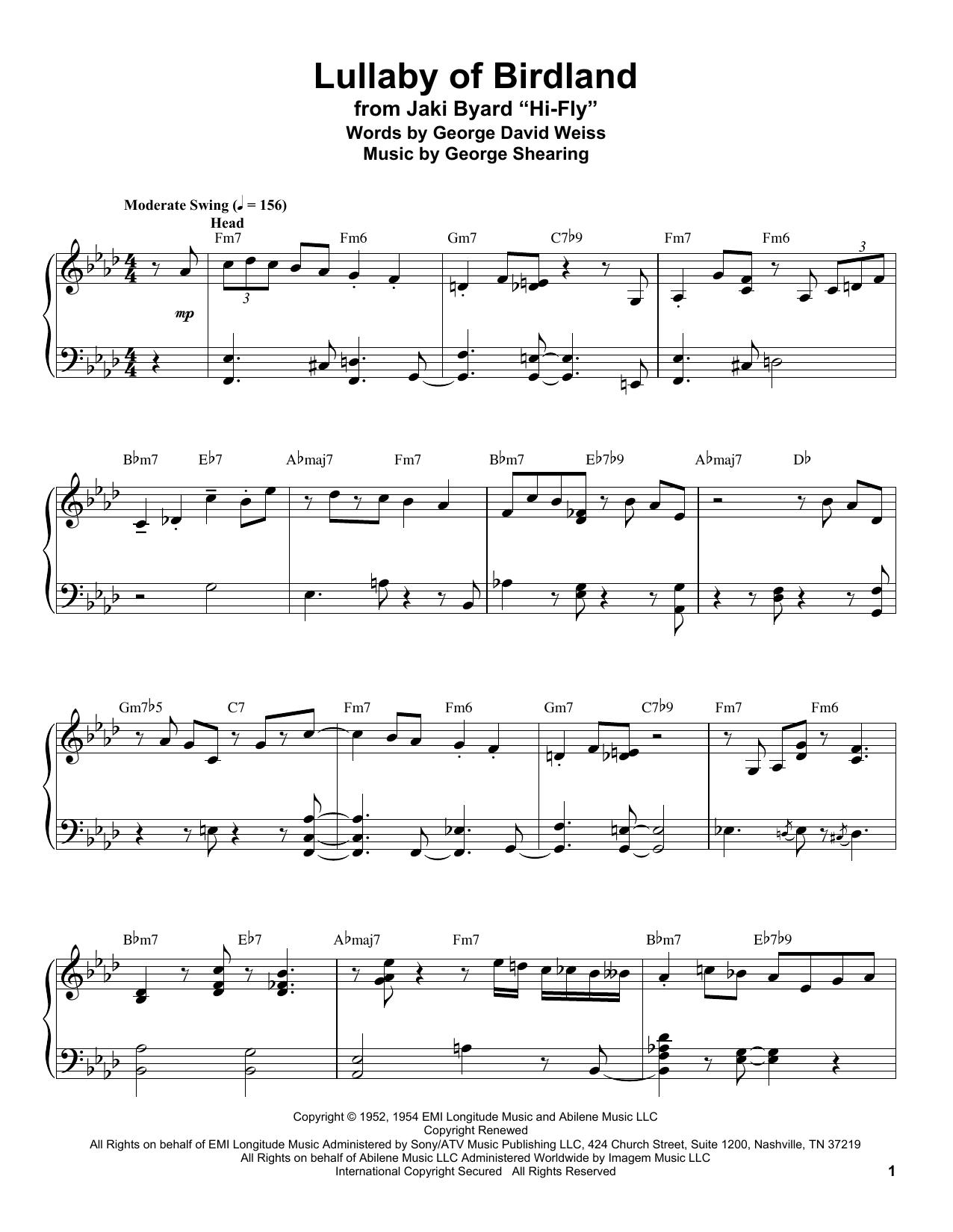 Lullaby Of Birdland (Piano Transcription)