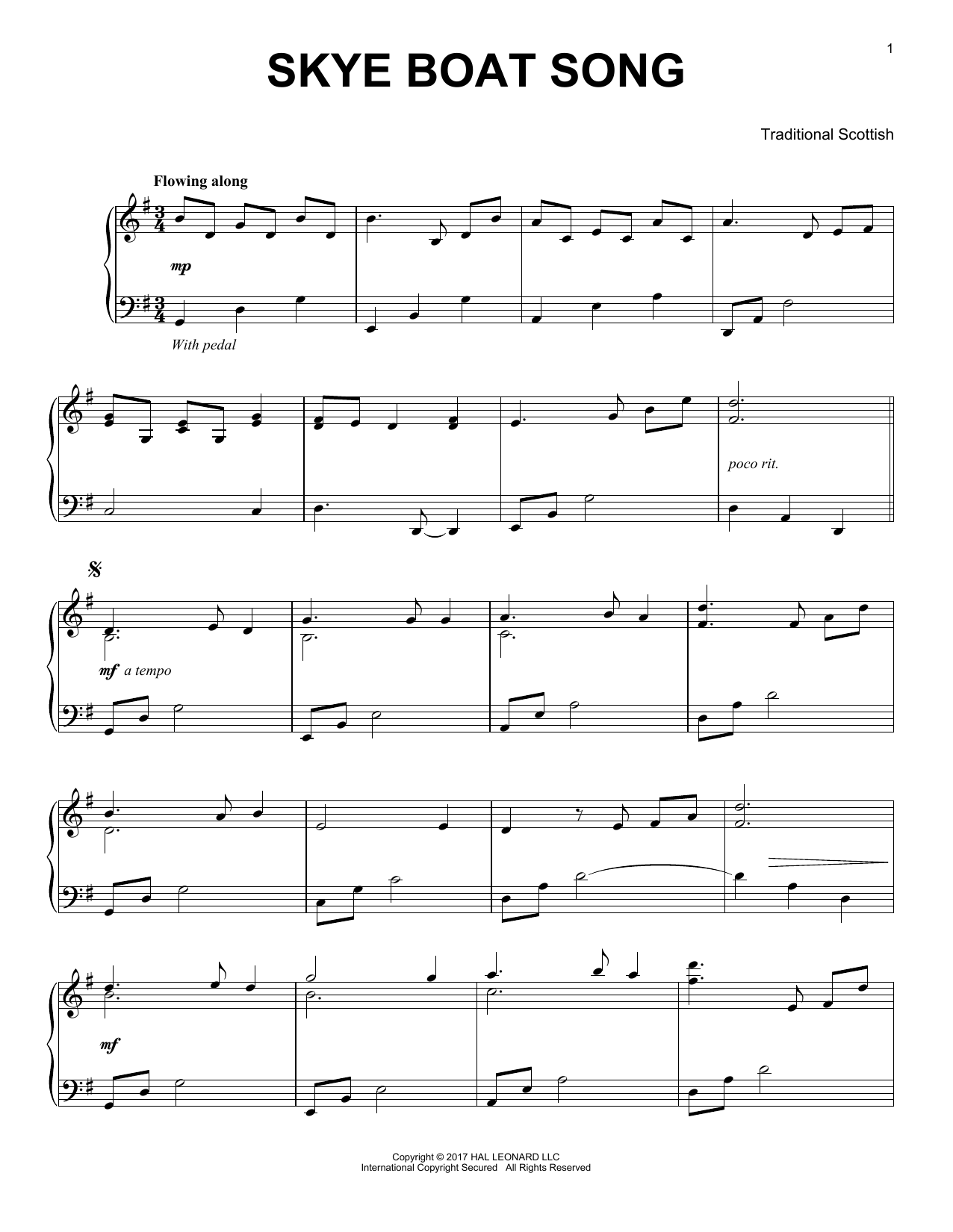 The Skye Boat Song (Piano Solo)