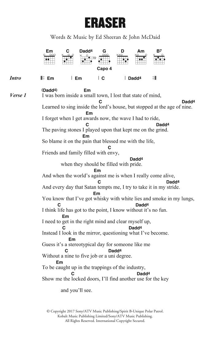 Eraser by Ed Sheeran - Guitar Chords/Lyrics - Guitar Instructor