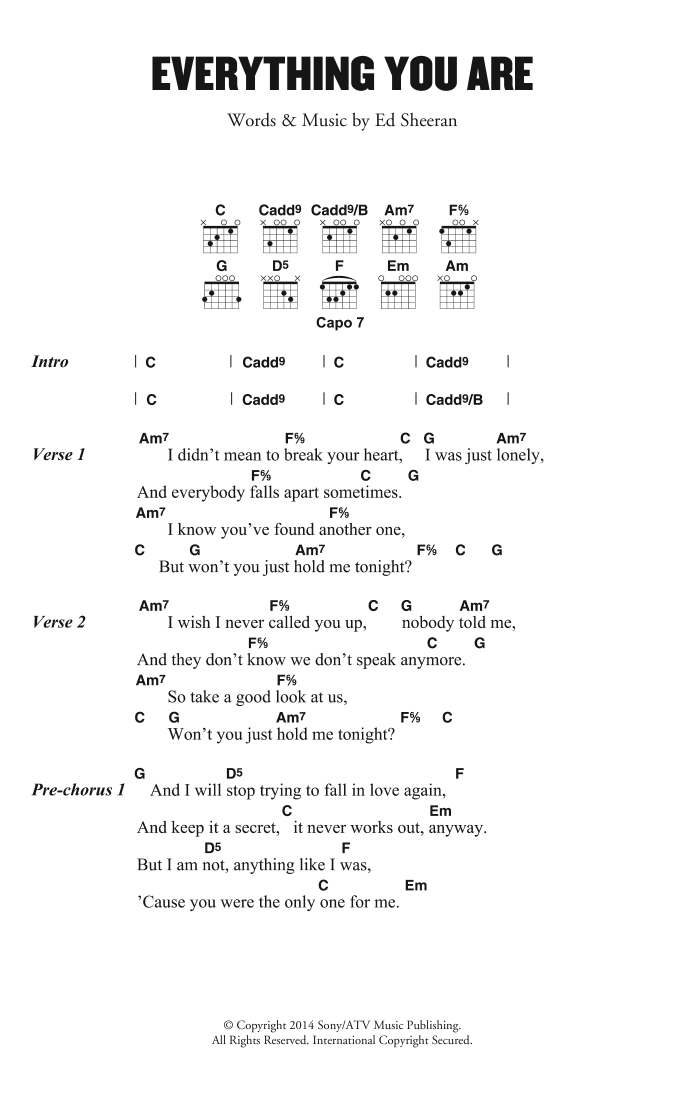 Everything You Are Sheet Music Ed Sheeran Lyrics Chords