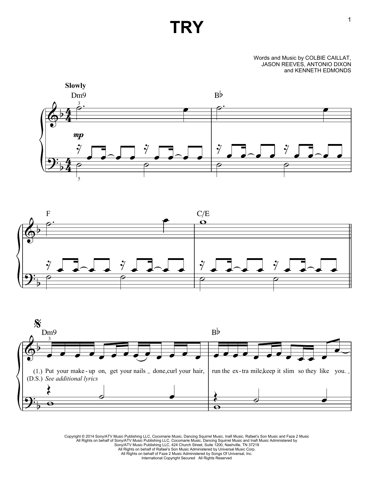 Try (Easy Piano)
