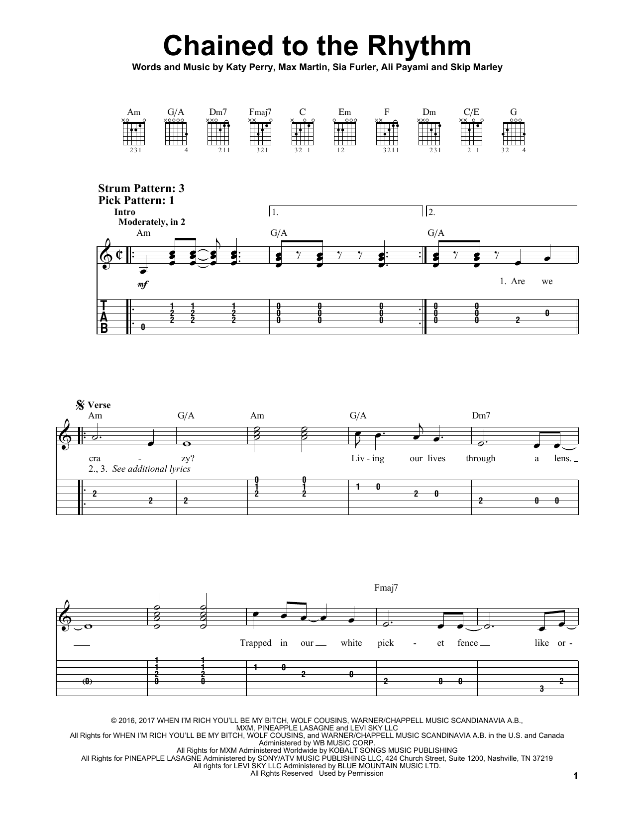 Chained To The Rhythm (Easy Guitar Tab)
