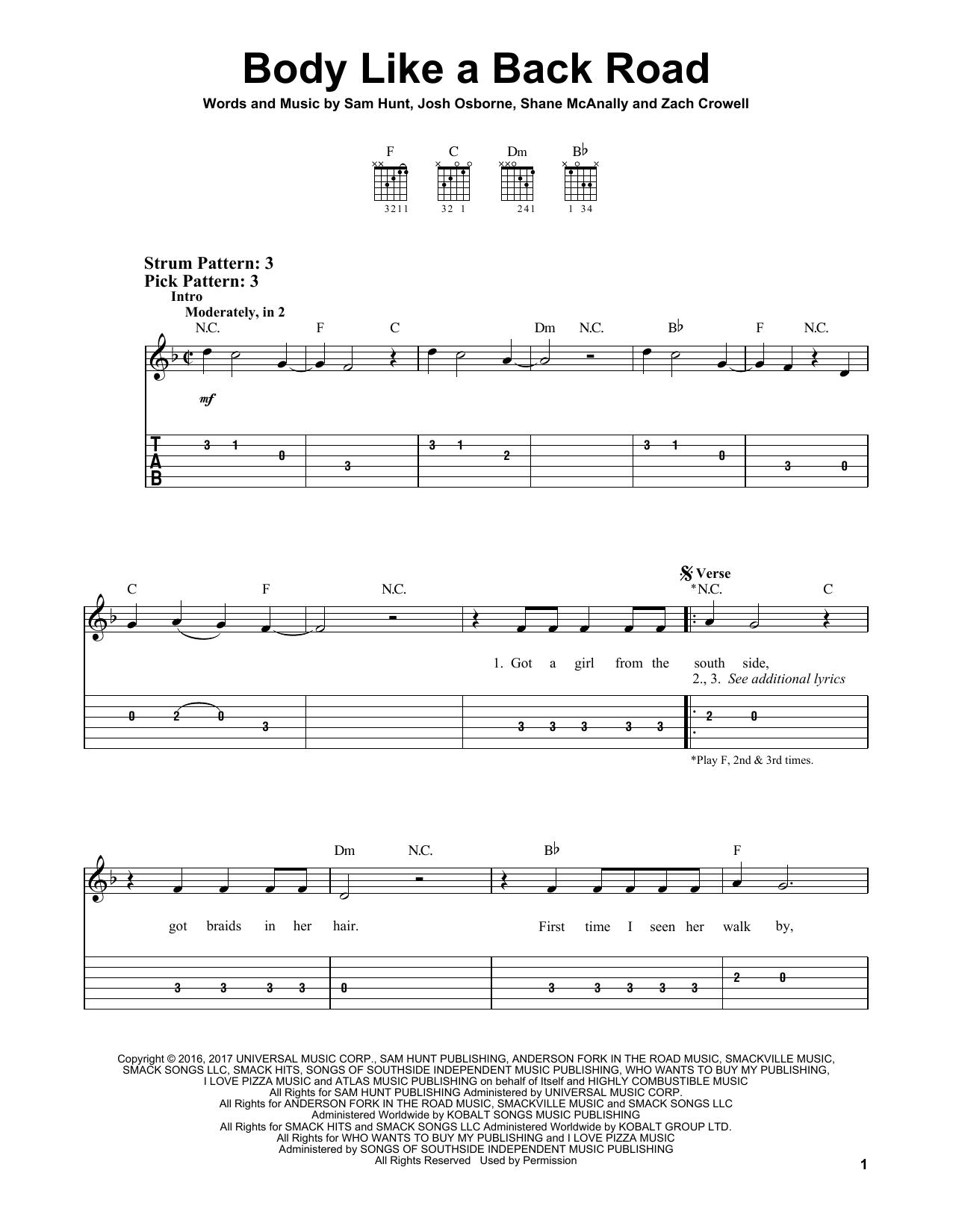 Body Like A Back Road (Easy Guitar Tab)