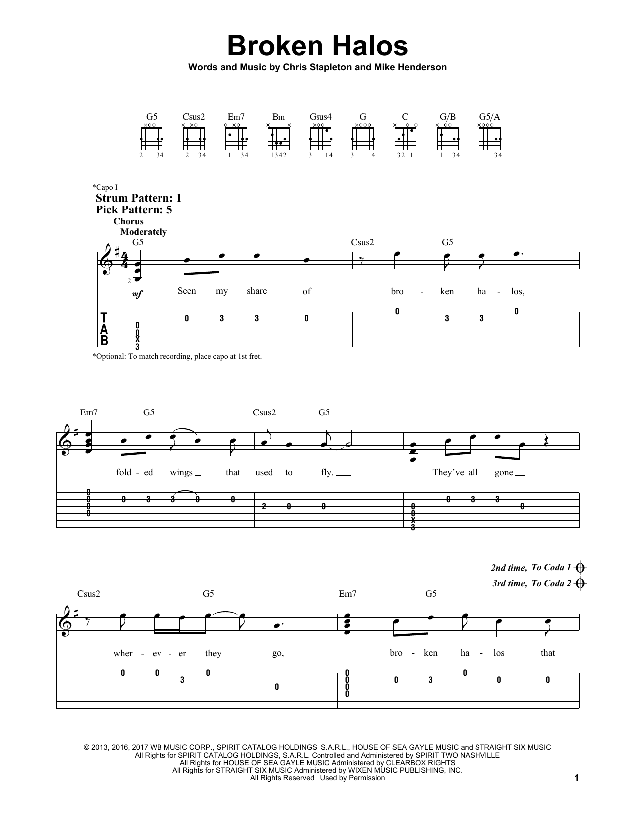 Broken Halos (Easy Guitar Tab)