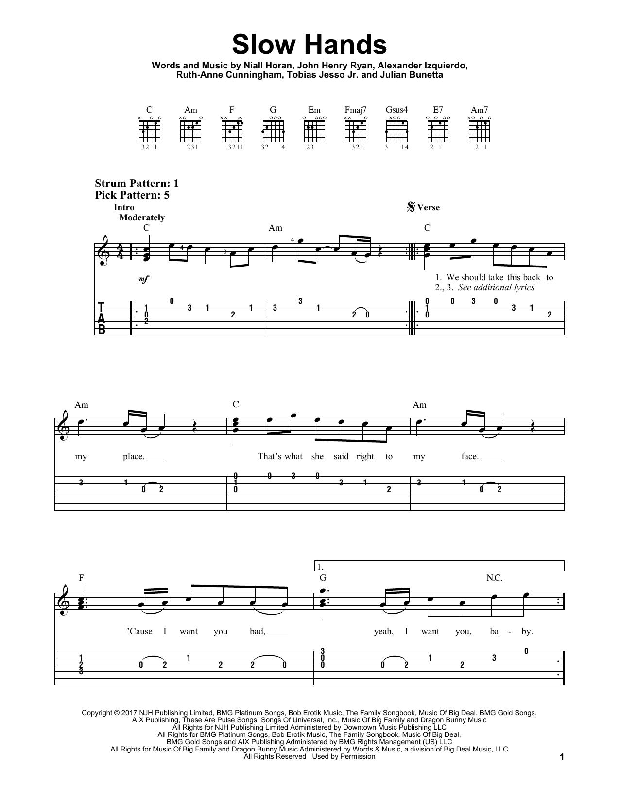 Slow Hands (Easy Guitar Tab)