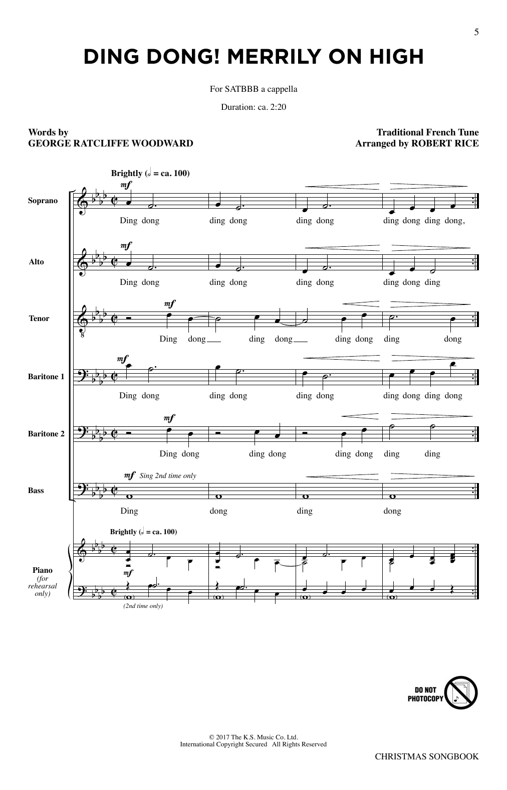 Partition chorale Carol Of The Bells de The King's Singers - SATB