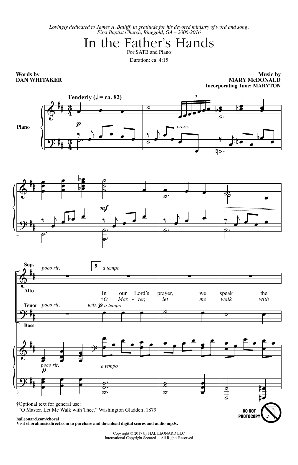 In The Father's Hands Sheet Music