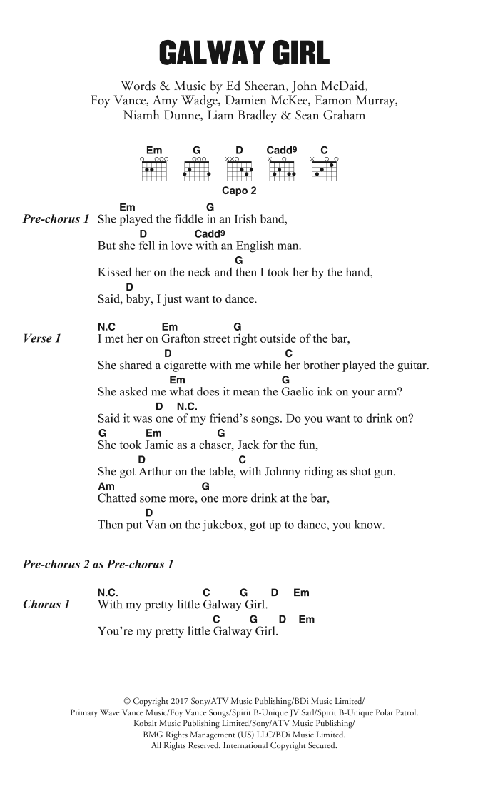 Guitar guitar lyrics : Galway Girl by Ed Sheeran - Guitar Chords/Lyrics - Guitar Instructor