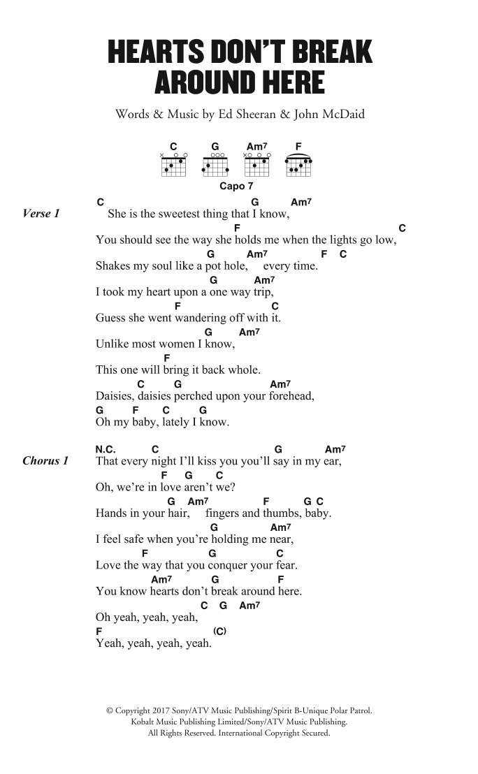 Hearts Dont Break Around Here Sheet Music Ed Sheeran Lyrics