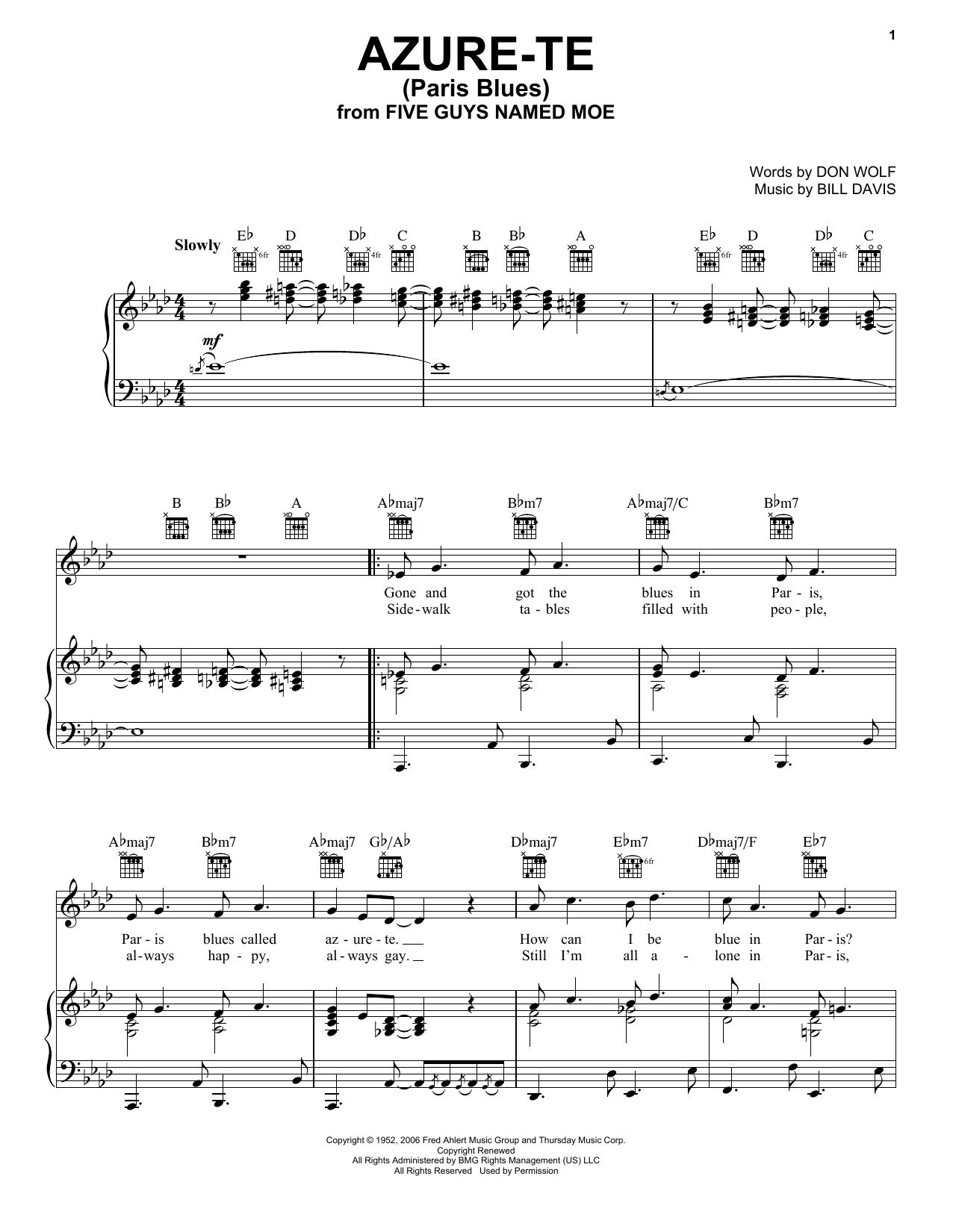 Azure-Te (Paris Blues) (Piano, Vocal & Guitar (Right-Hand Melody))