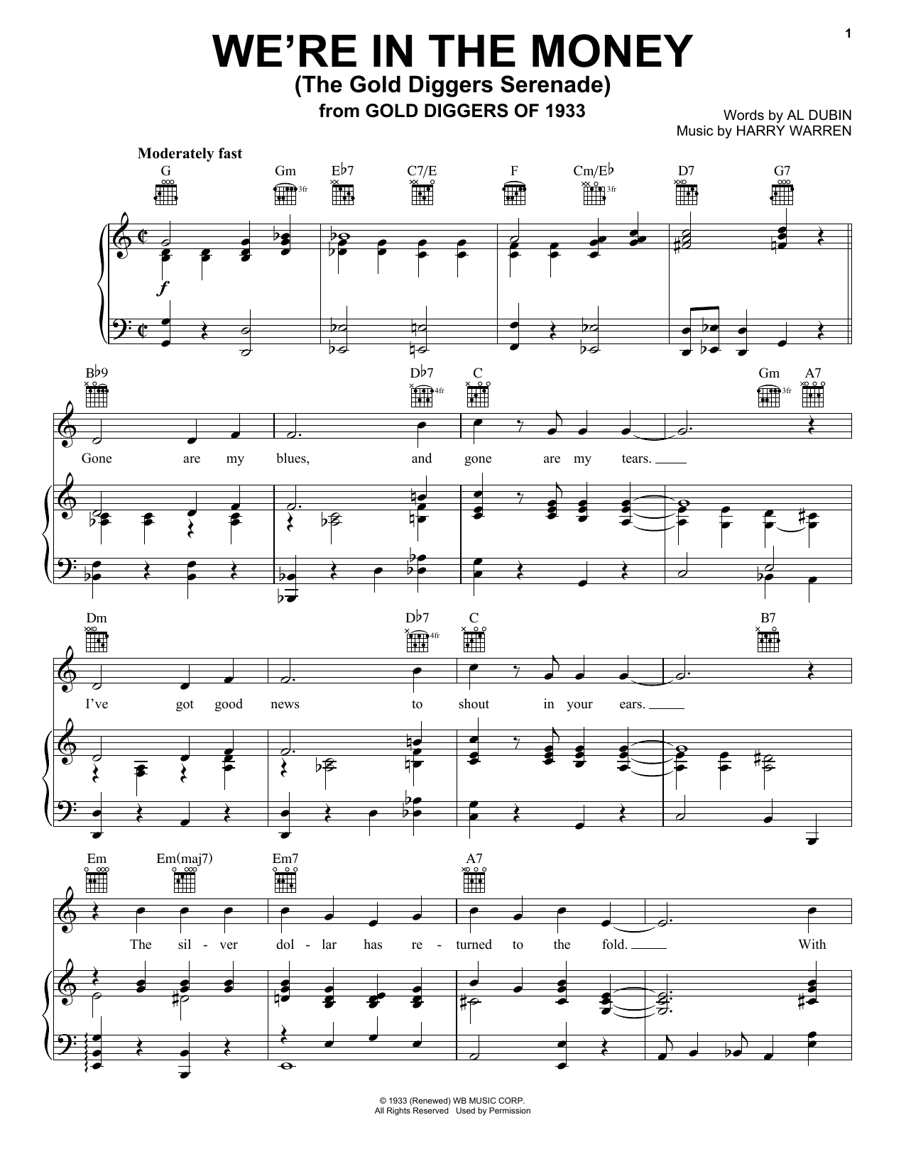 We're In The Money (The Gold Diggers Serenade) (Piano, Vocal & Guitar (Right-Hand Melody))