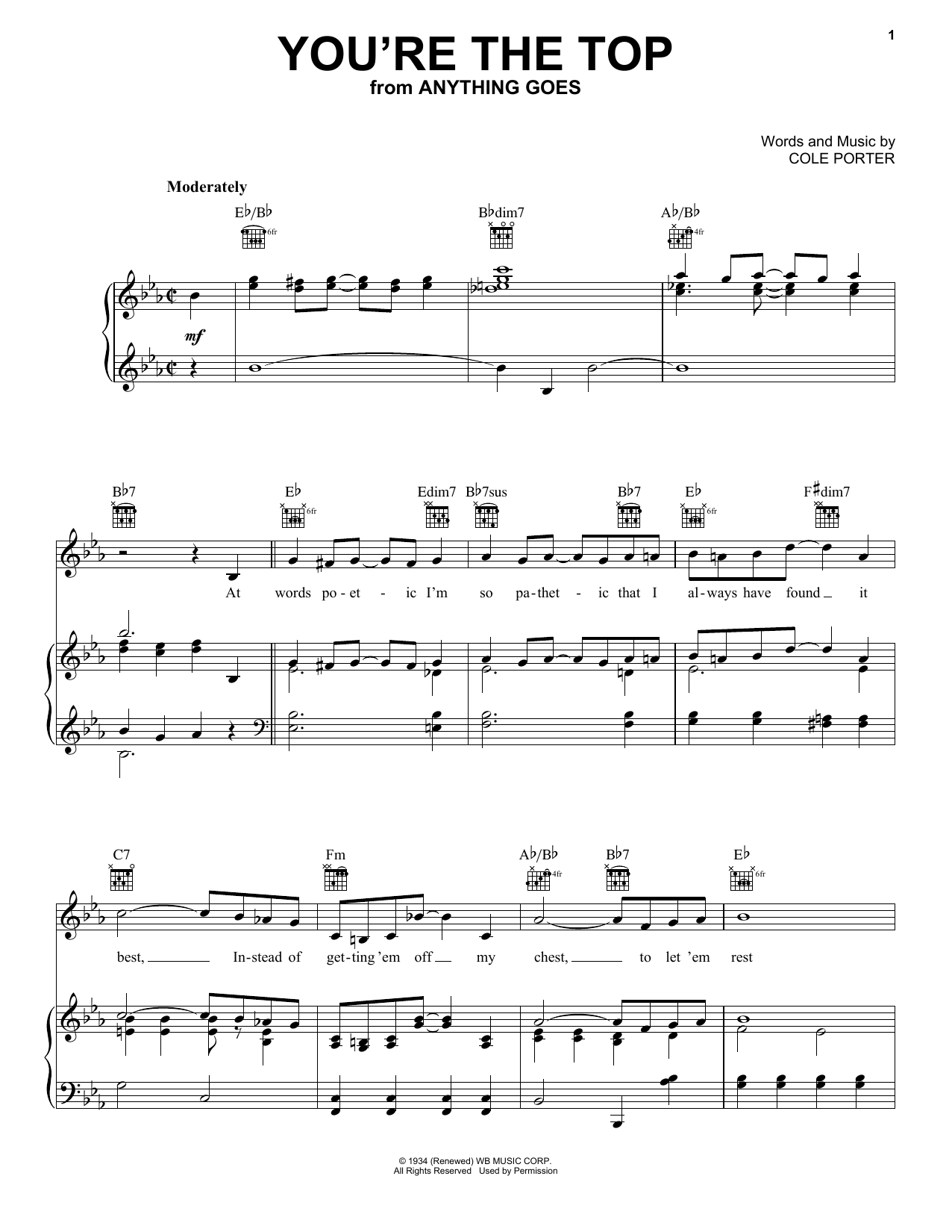 You're The Top (Piano, Vocal & Guitar (Right-Hand Melody))