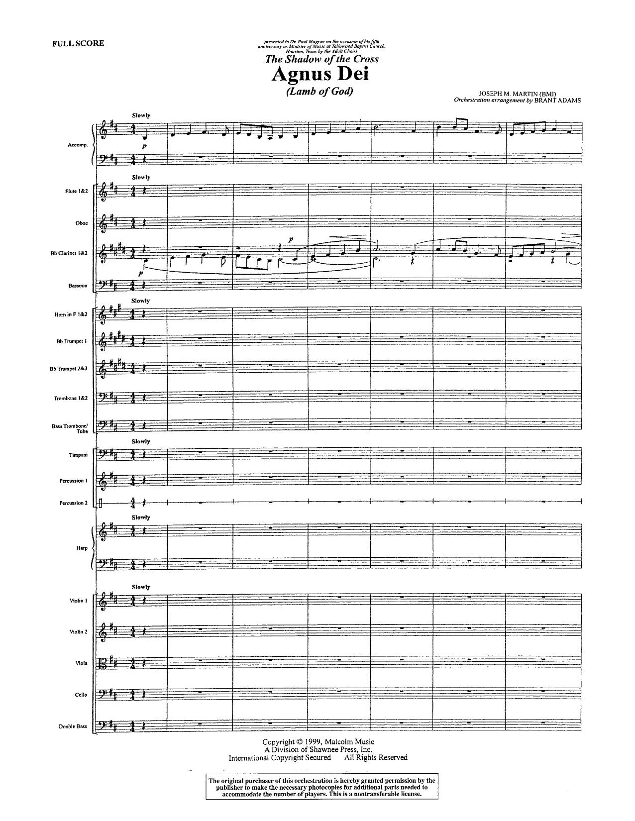 Agnus Dei - Full Score (Choir Instrumental Pak)