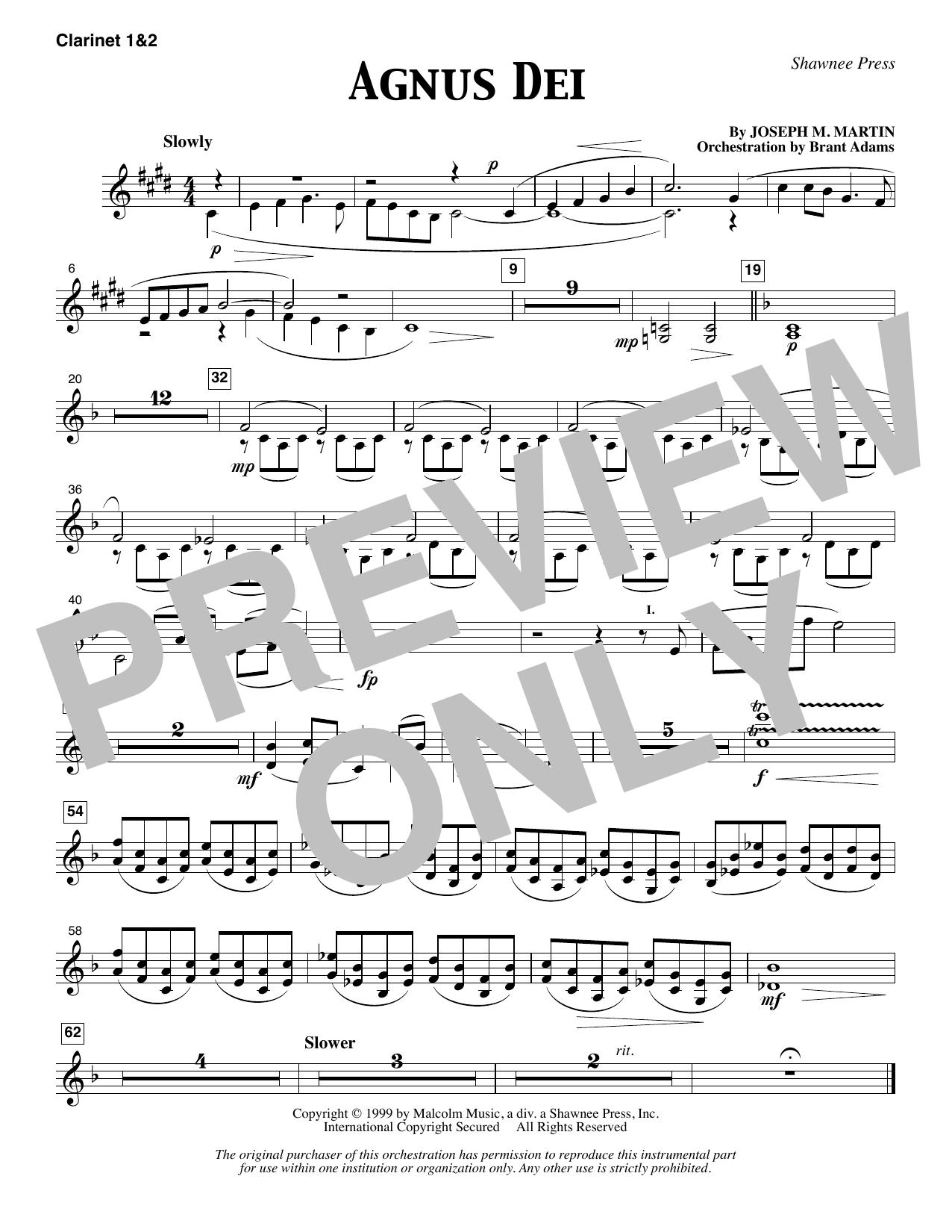 Agnus Dei - Bb Clarinet 1 & 2 (Choir Instrumental Pak)