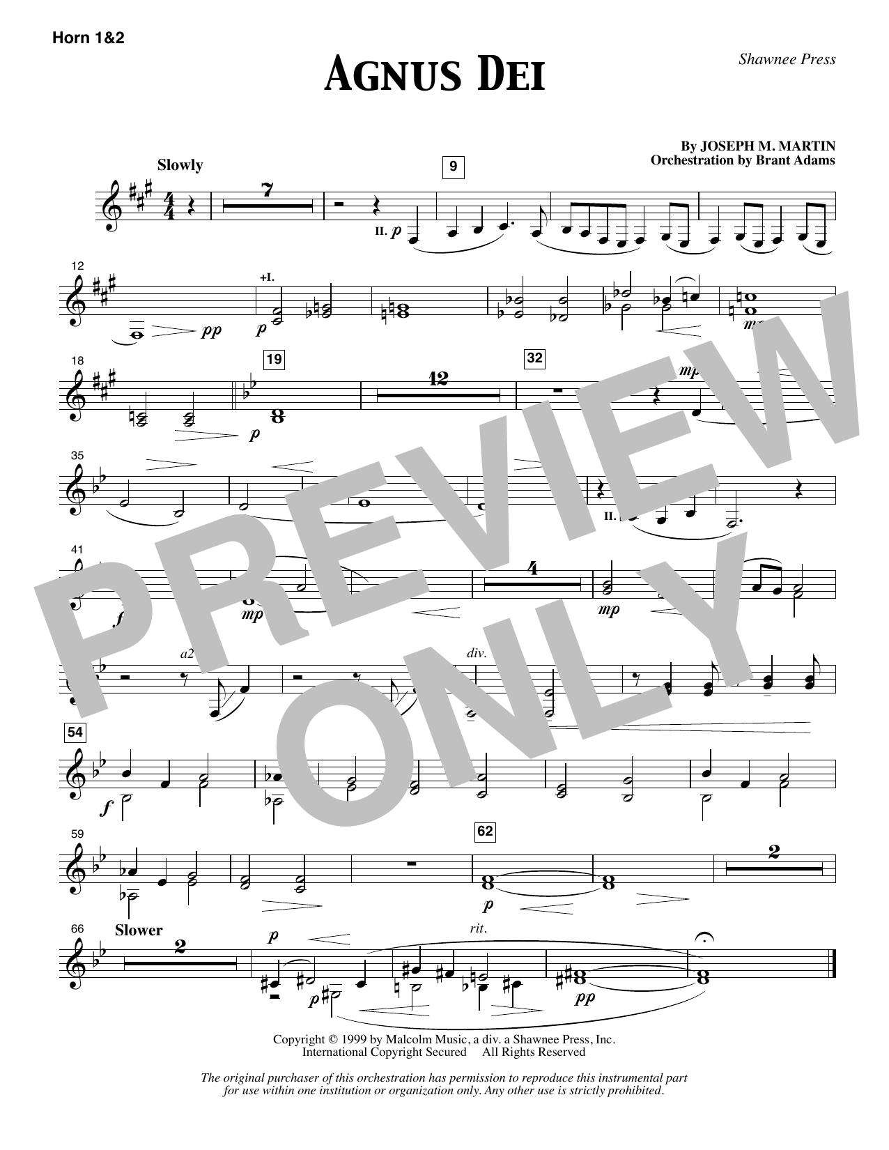 Agnus Dei - F Horn 1 & 2 (Choir Instrumental Pak)
