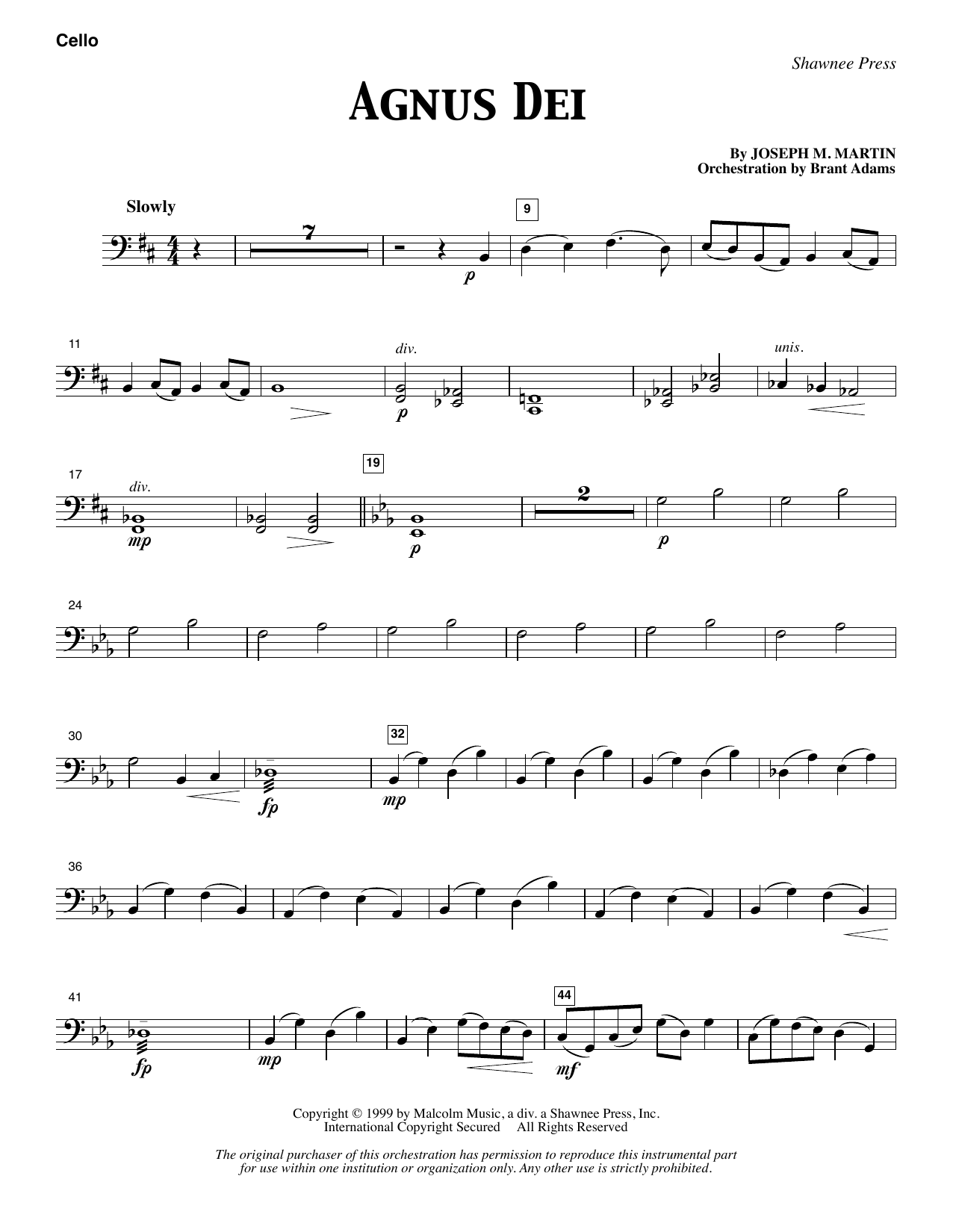 Agnus Dei - Cello (Choir Instrumental Pak)