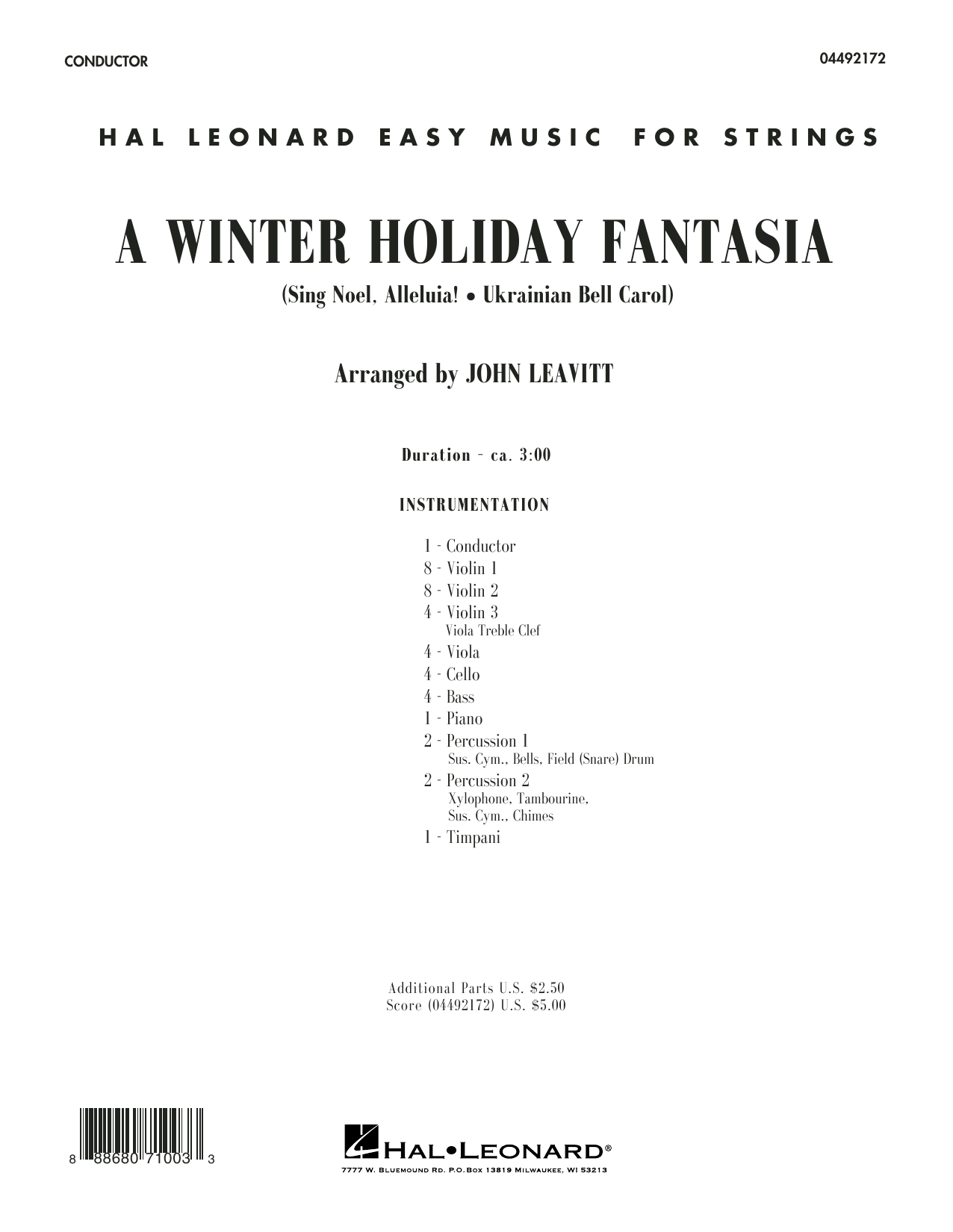 A Winter Holiday Fantasia (COMPLETE) sheet music for orchestra by John Leavitt. Score Image Preview.