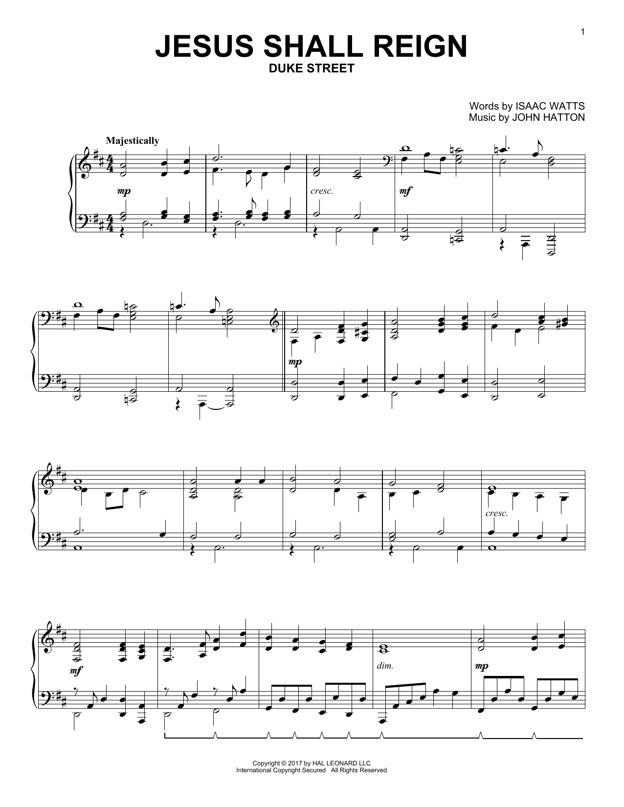 Jesus Shall Reign (Piano Solo)