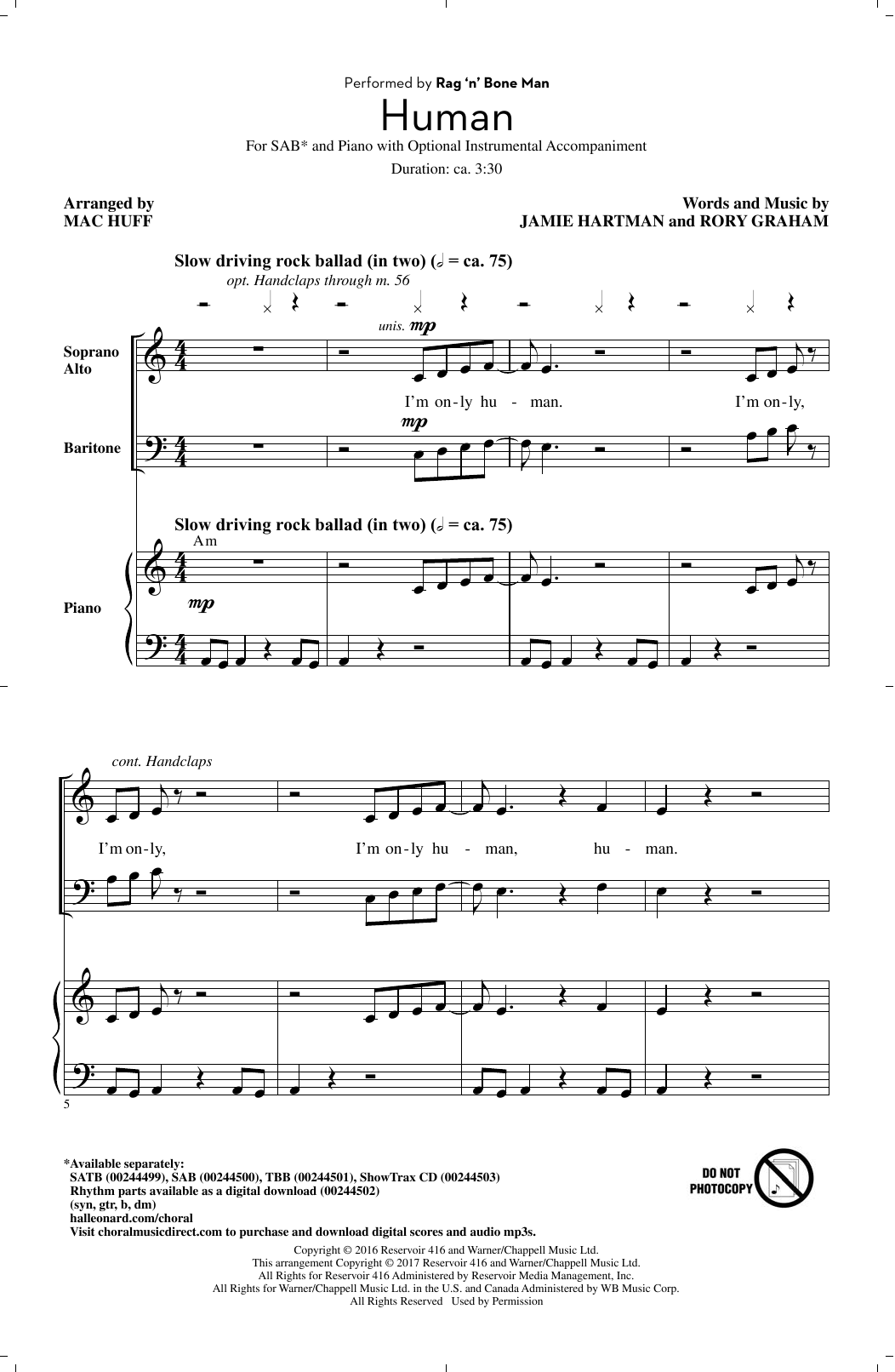 Human (arr. Mac Huff) (SAB Choir)