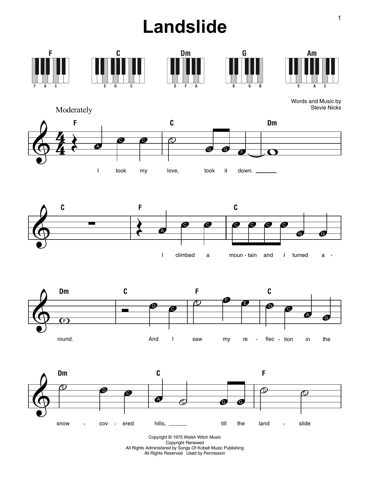 Landslide Fleetwood Mac Super Easy Piano