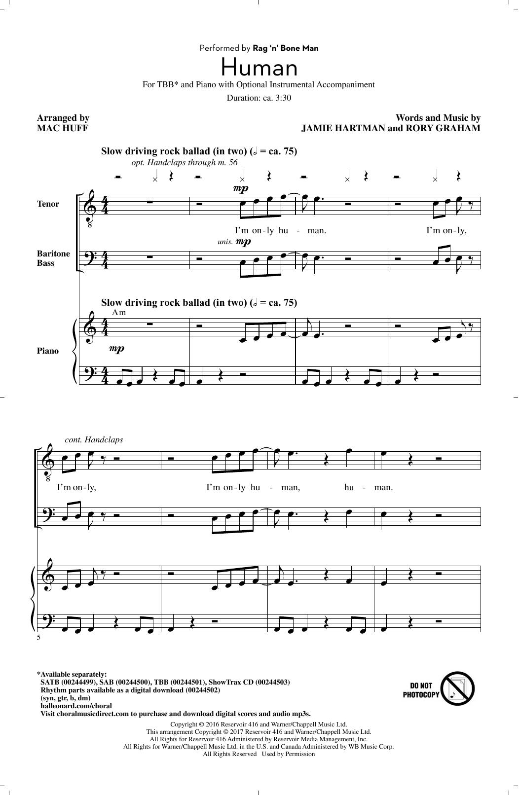 Partition chorale Human de Rag'n'Bone Man - TBB